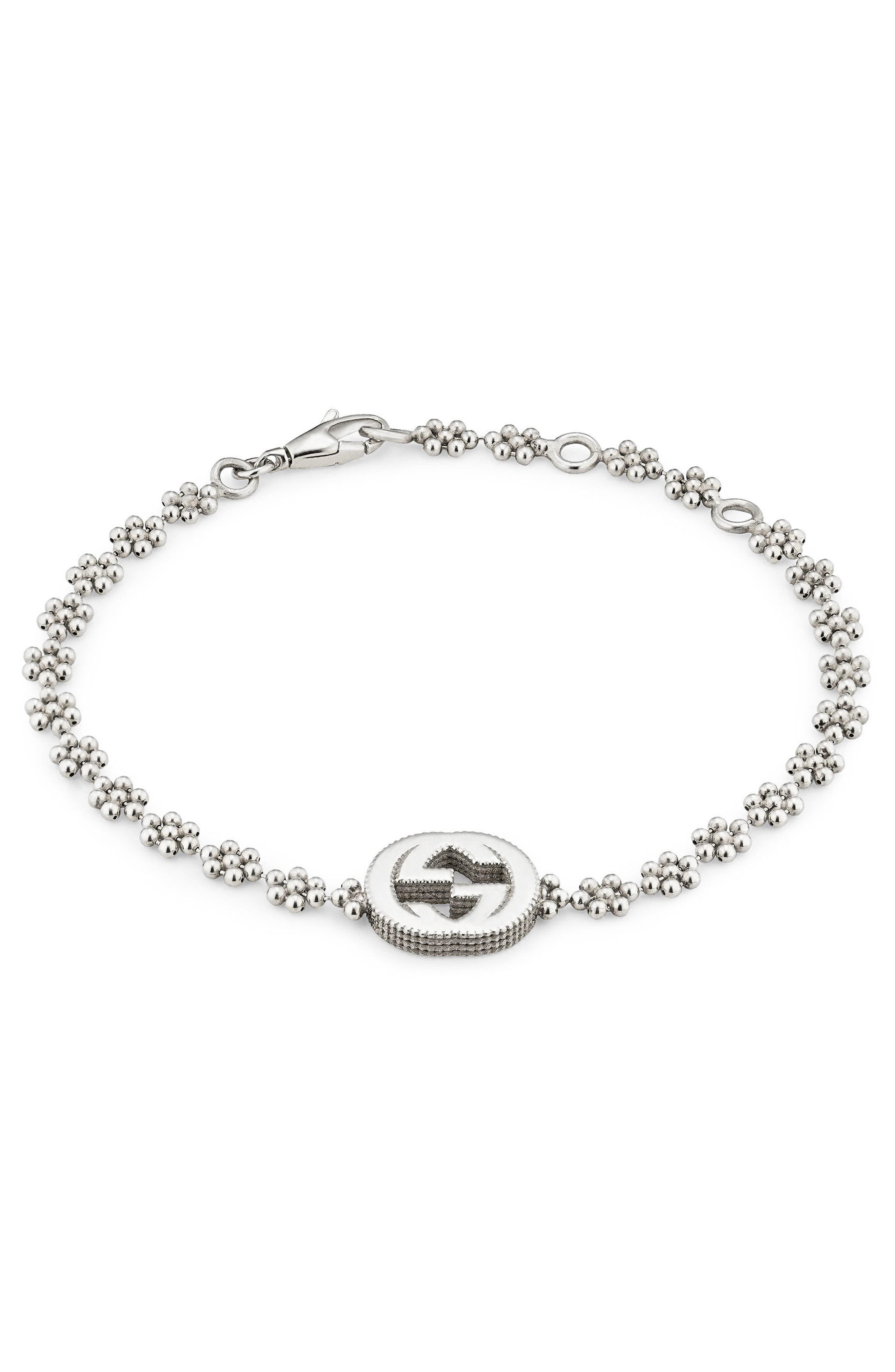 Interlocking-G Bracelet,                         Main,                         color, Sterling Silver