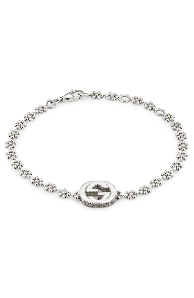 40fe71697a01 GUCCI STERLING SILVER SMALL INTERLOCKING G CLUSTER CHAIN BRACELET ...