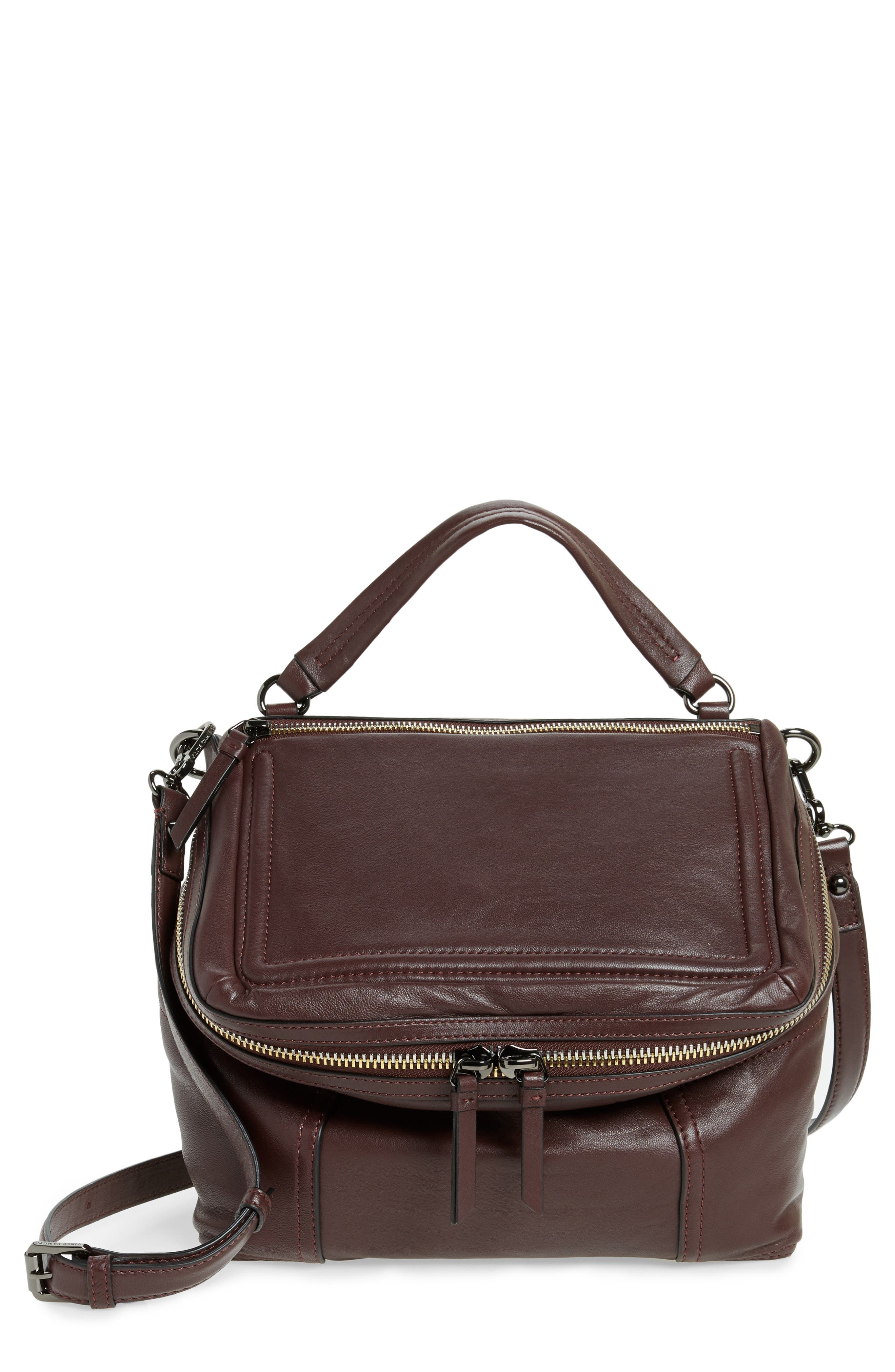 Large Patch Leather Crossbody Bag,                         Main,                         color, Black Cherry