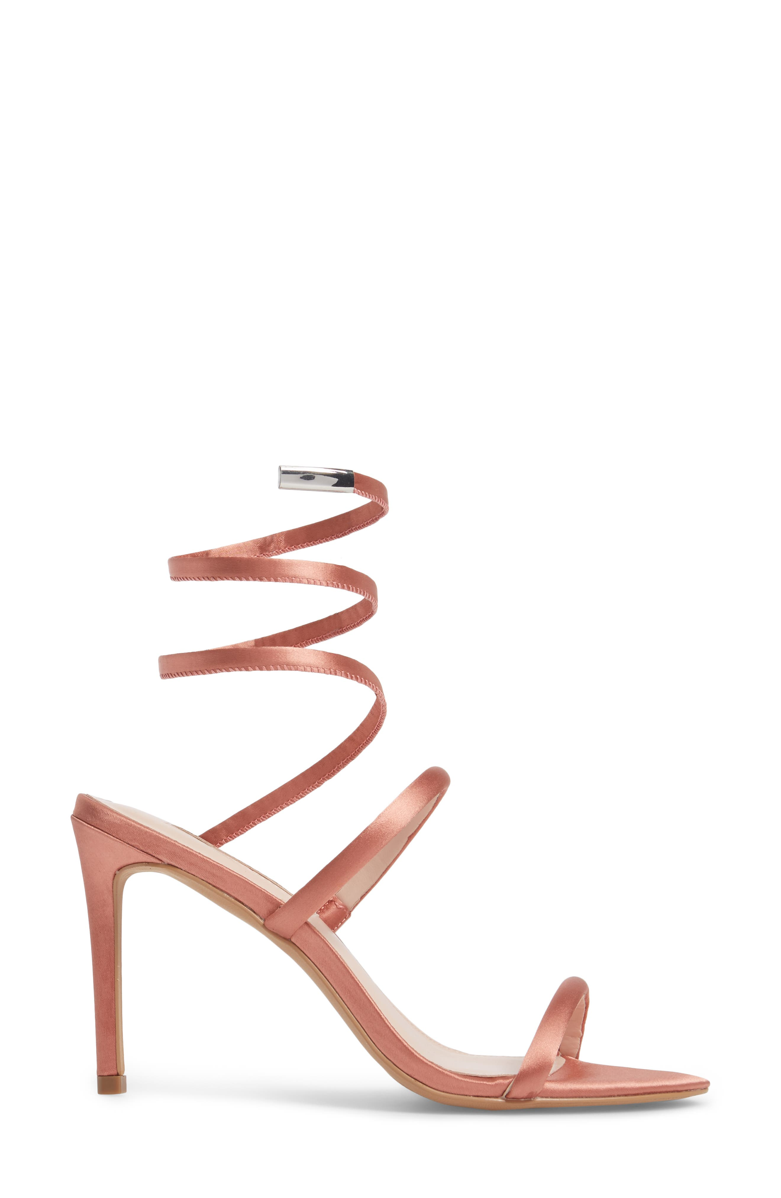 Joia Ankle Wrap Sandal,                             Alternate thumbnail 3, color,                             Dusty Rose Fabric