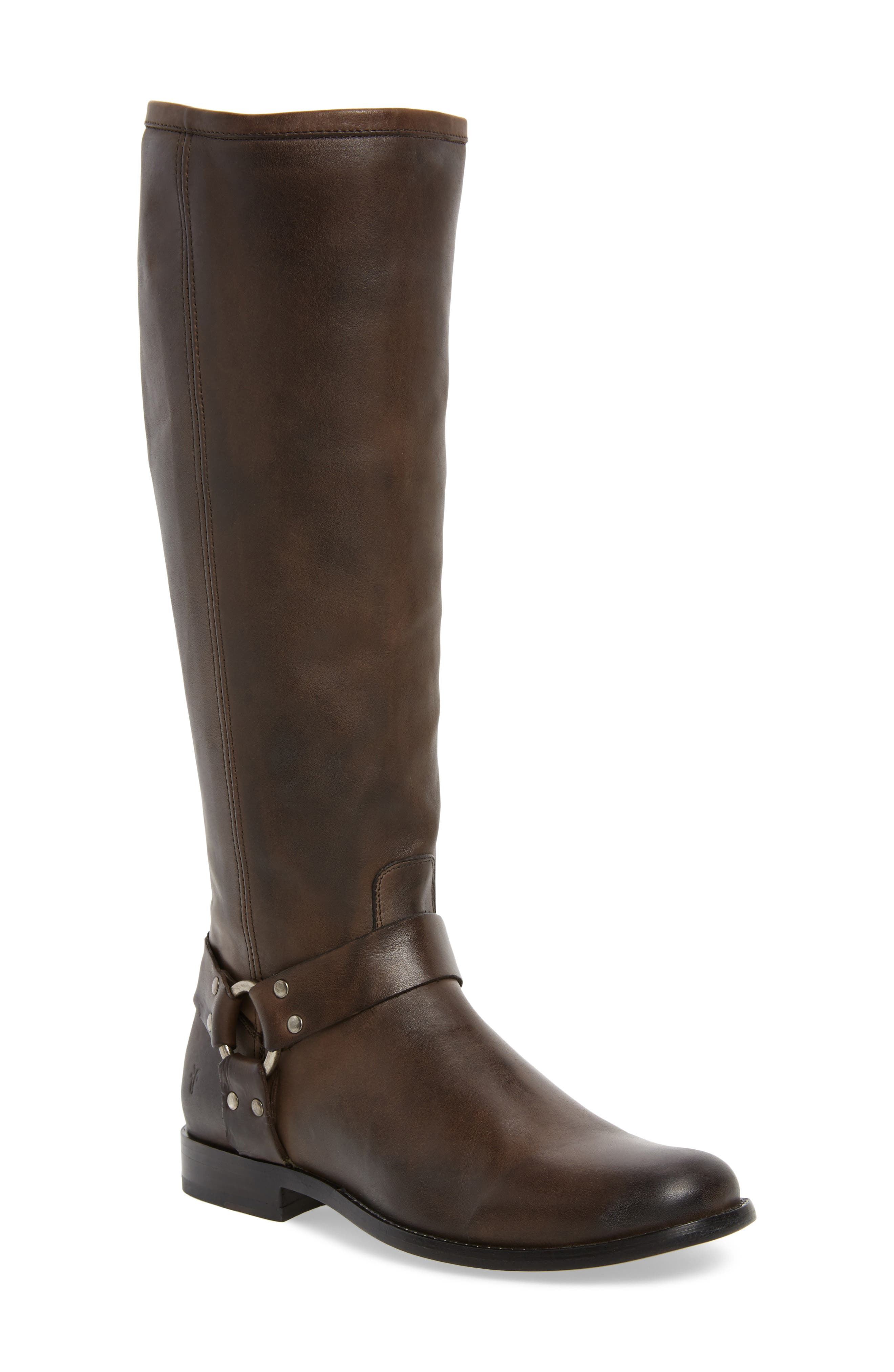 Phillip Harness Tall Boot,                             Main thumbnail 1, color,                             Smoke Leather