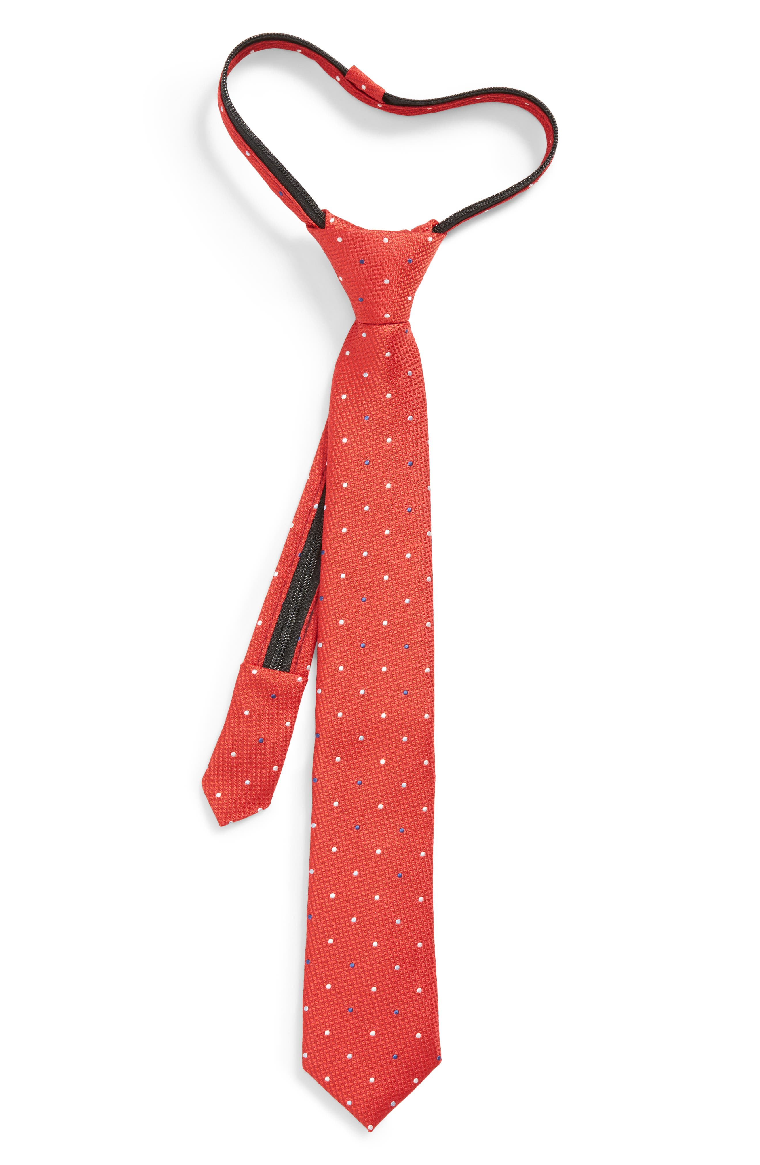 Dot Silk Zip Tie,                             Main thumbnail 1, color,                             Red