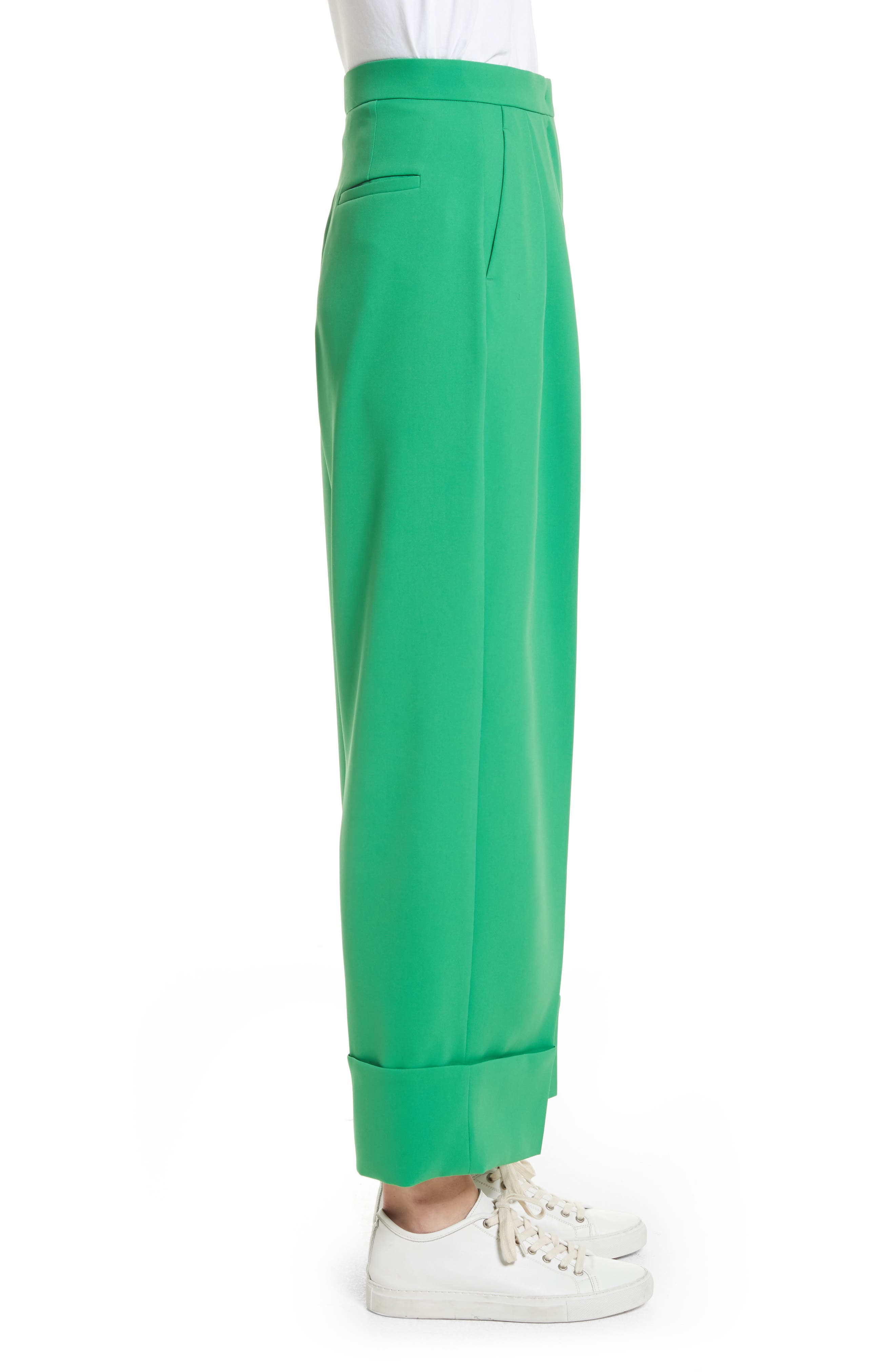 High Waist Crop Pants,                             Alternate thumbnail 3, color,                             Green