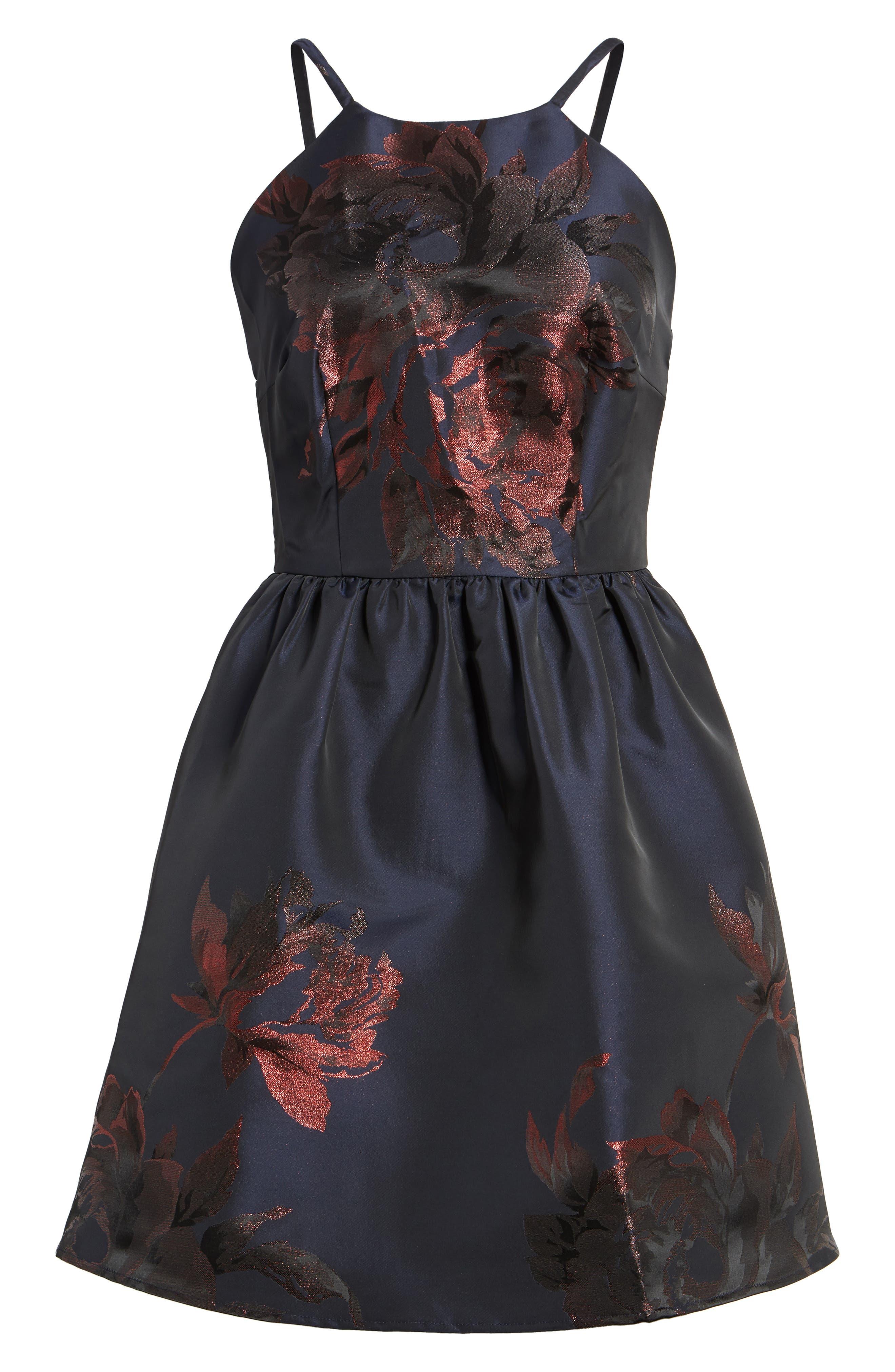 Metallic Floral Fit & Flare Dress,                             Alternate thumbnail 6, color,                             Navy/ Burgundy