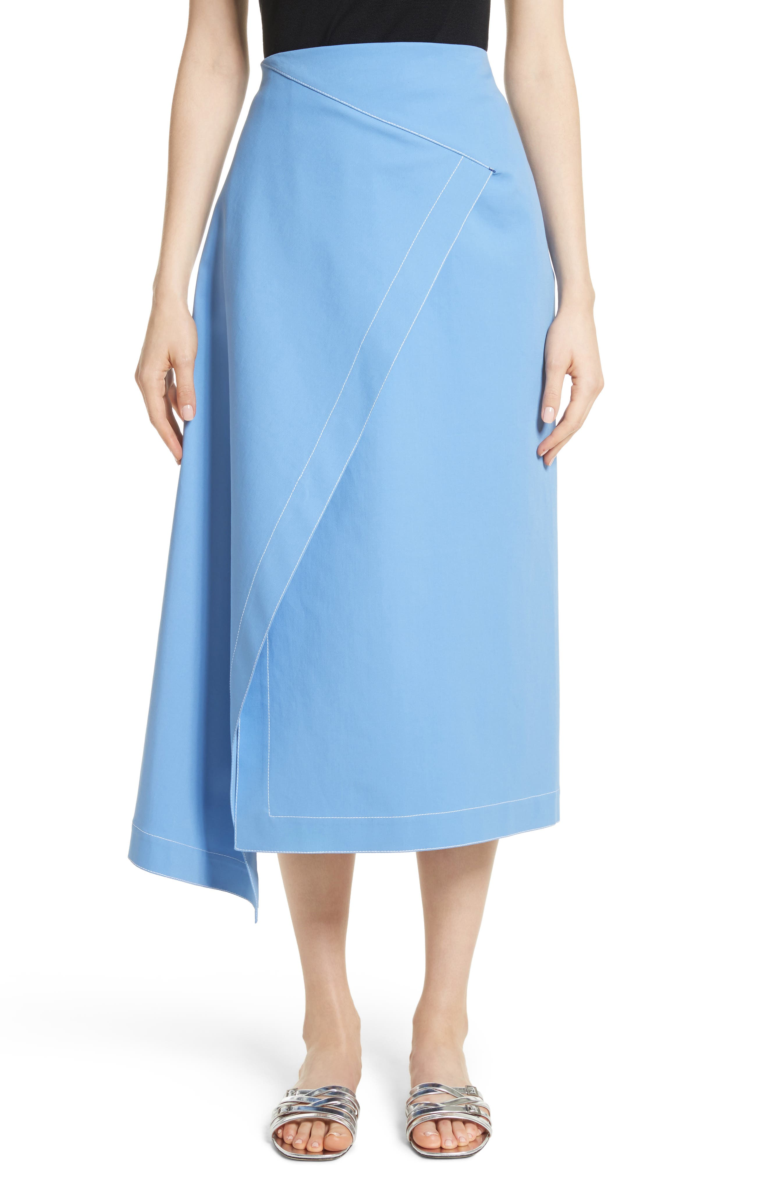 Asymmetrical Stretch Cotton Skirt,                         Main,                         color, Cornflower