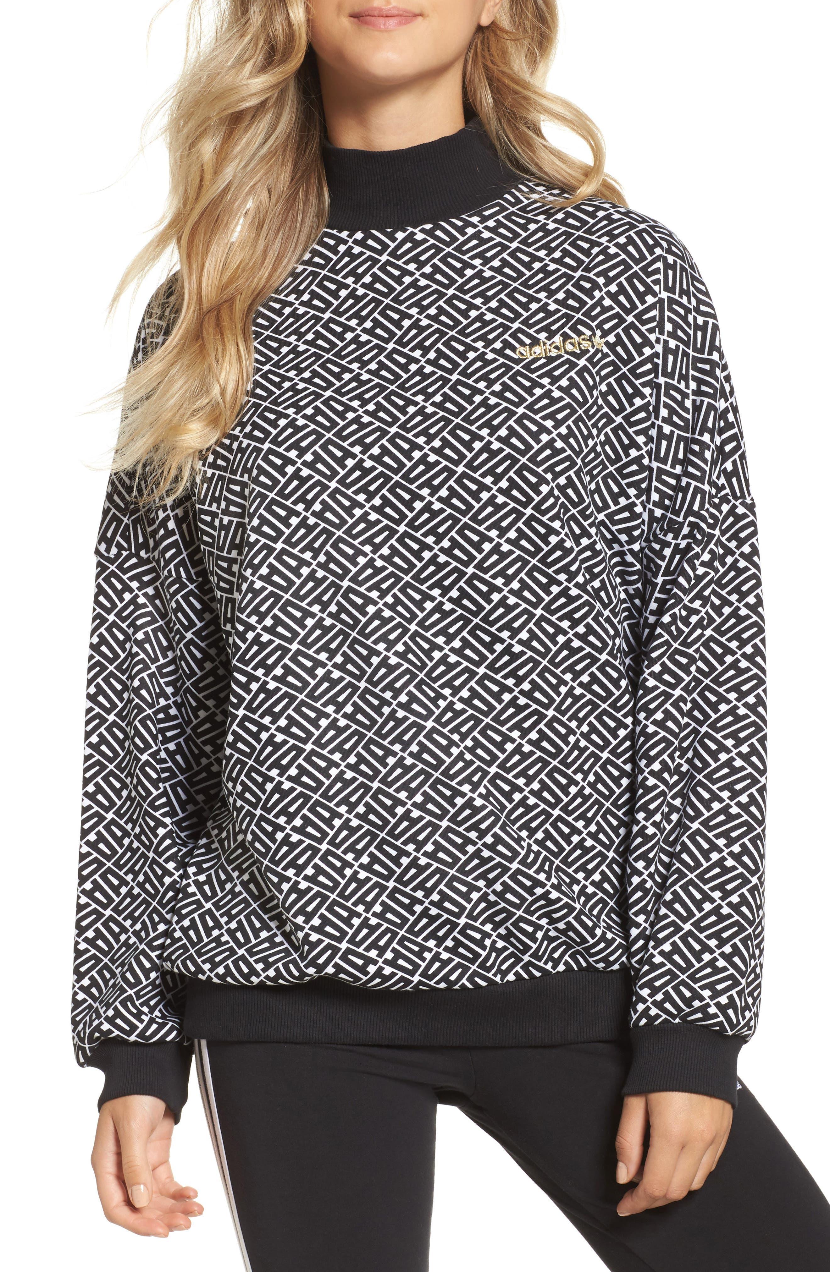AOP Print Sweatshirt,                         Main,                         color, White/ Black