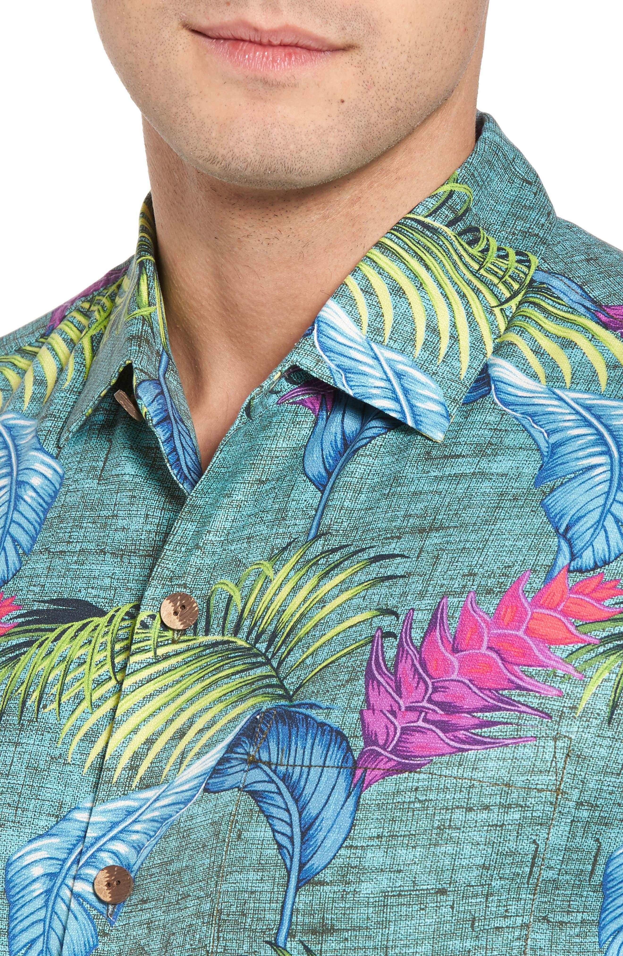 Boca Bouquet Silk Camp Shirt,                             Alternate thumbnail 4, color,                             Grand Canal