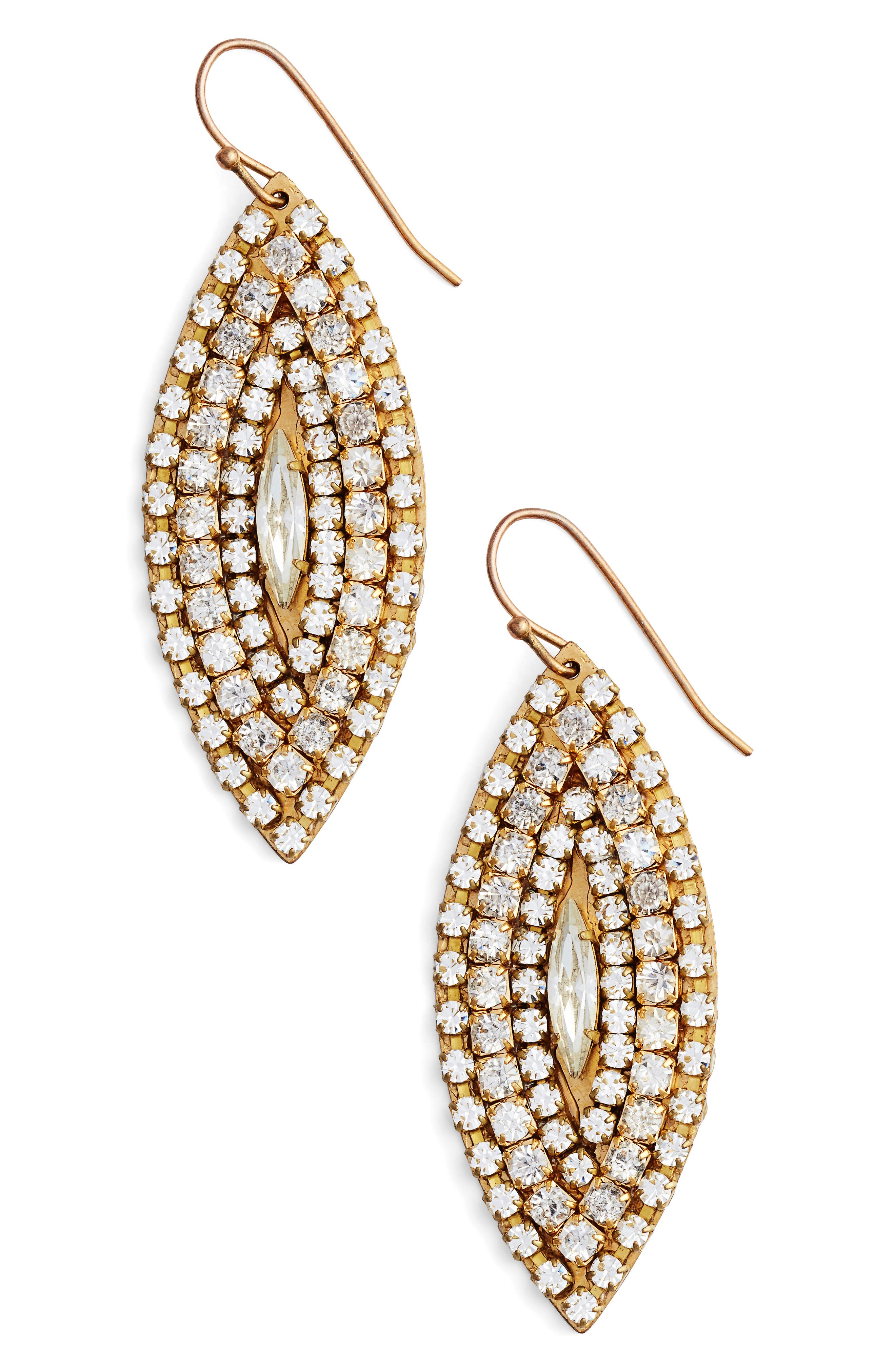 Marquise Statement Earrings,                         Main,                         color, Gold/ Crystal