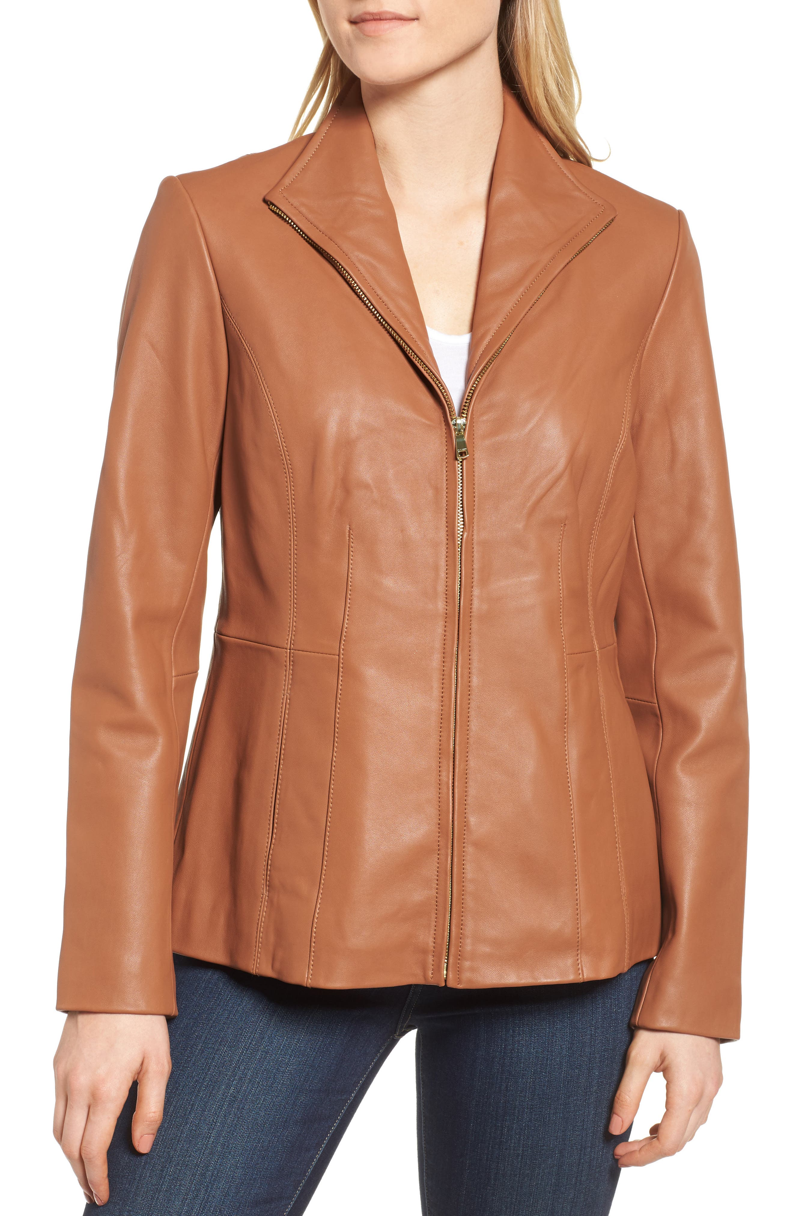 Leather Jacket,                             Alternate thumbnail 4, color,                             Cognac