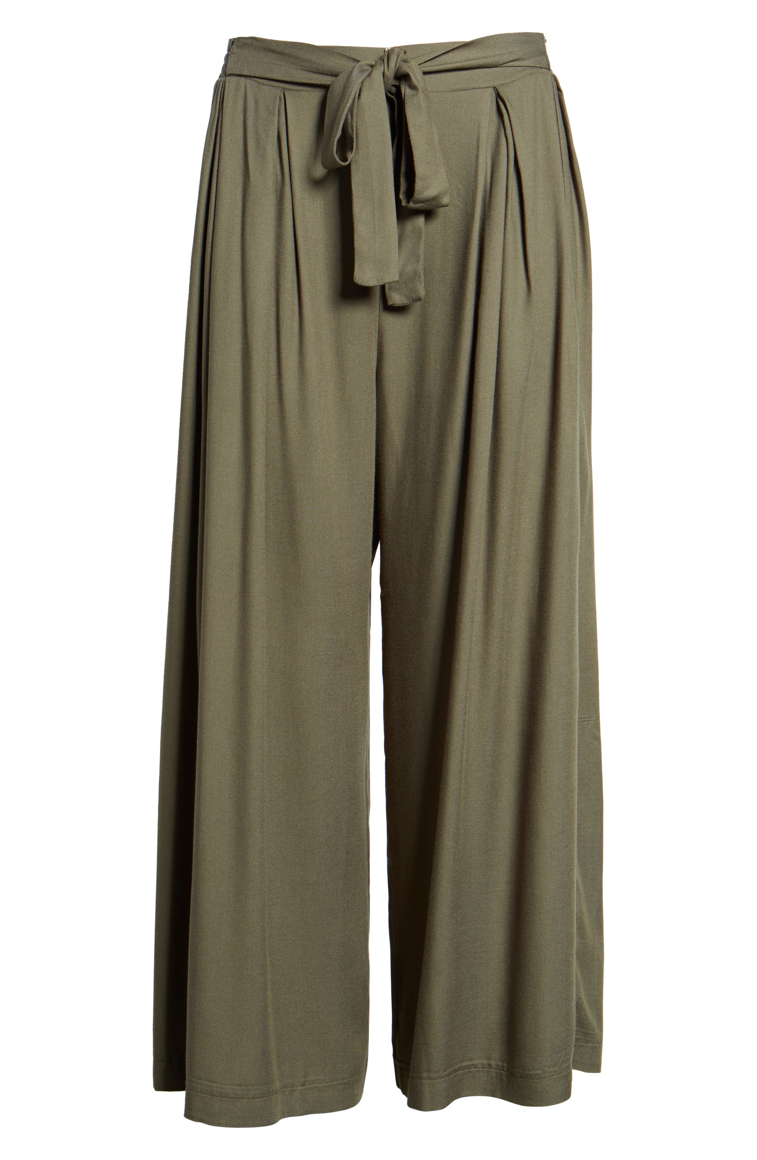 Tie Waist Wide Leg Pants,                             Alternate thumbnail 6, color,                             Olive Sarma