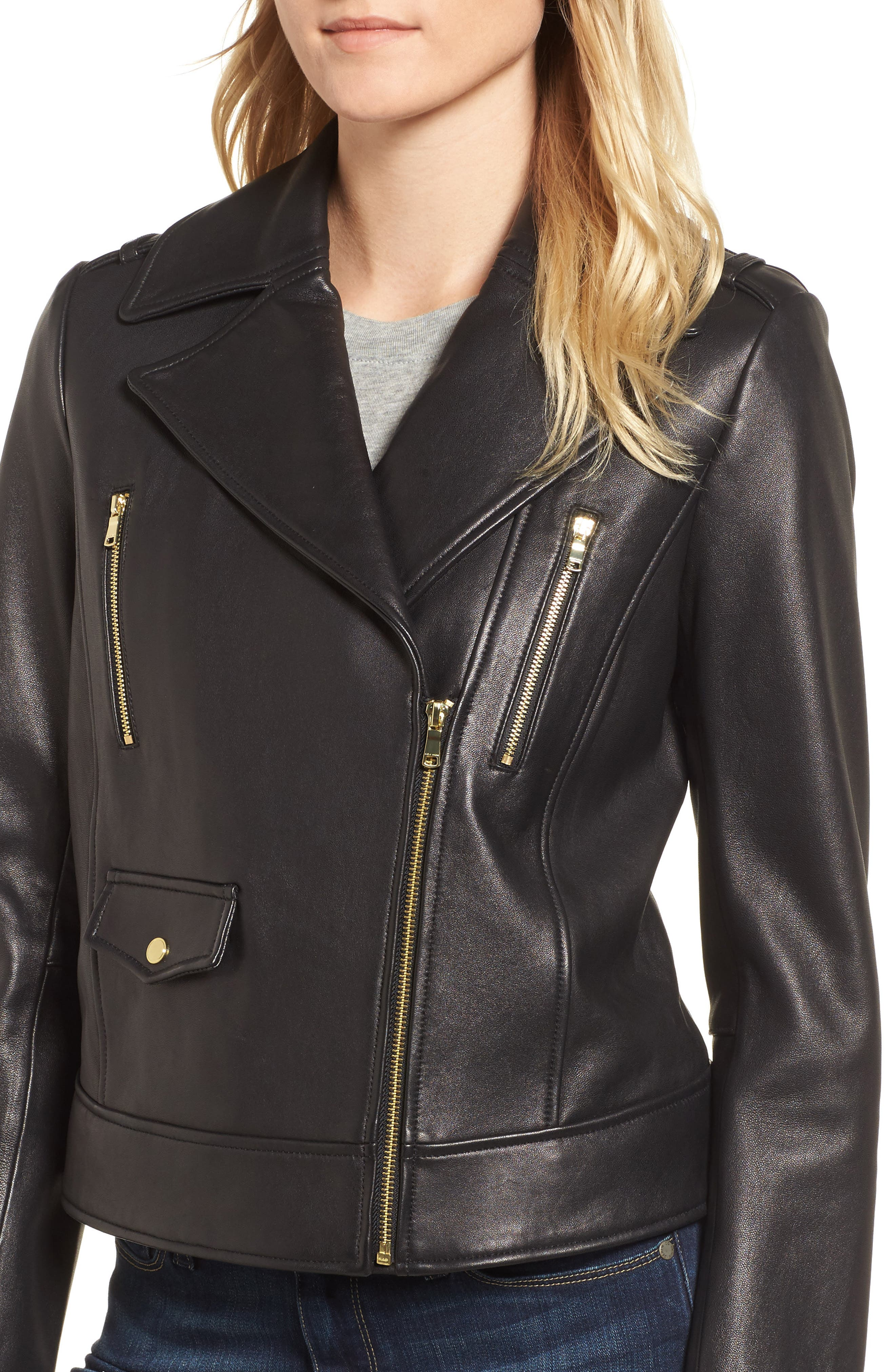 Leather Moto Jacket,                             Alternate thumbnail 4, color,                             Black