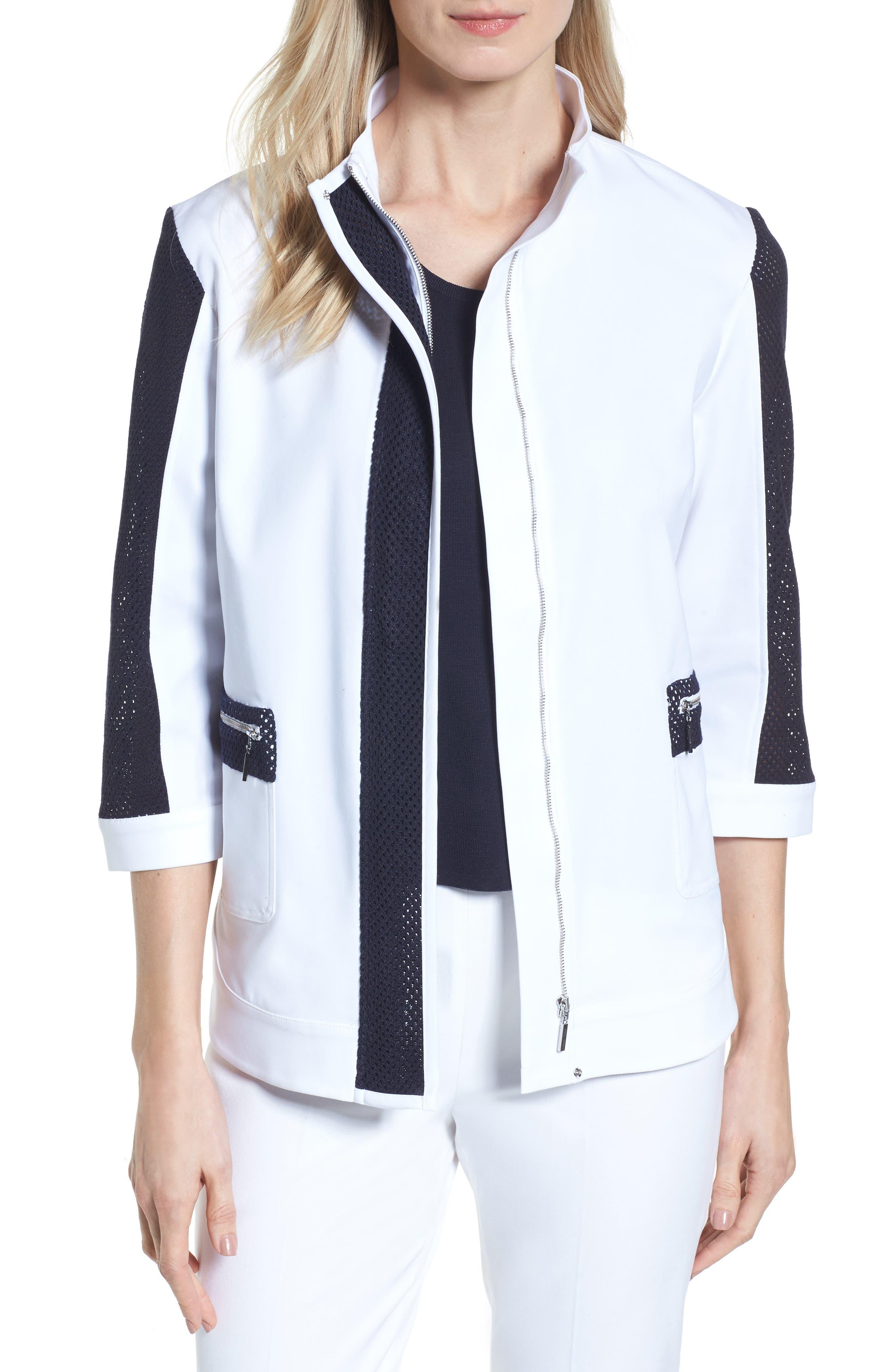 Mesh Trim Woven Jacket,                         Main,                         color, White/ Navy