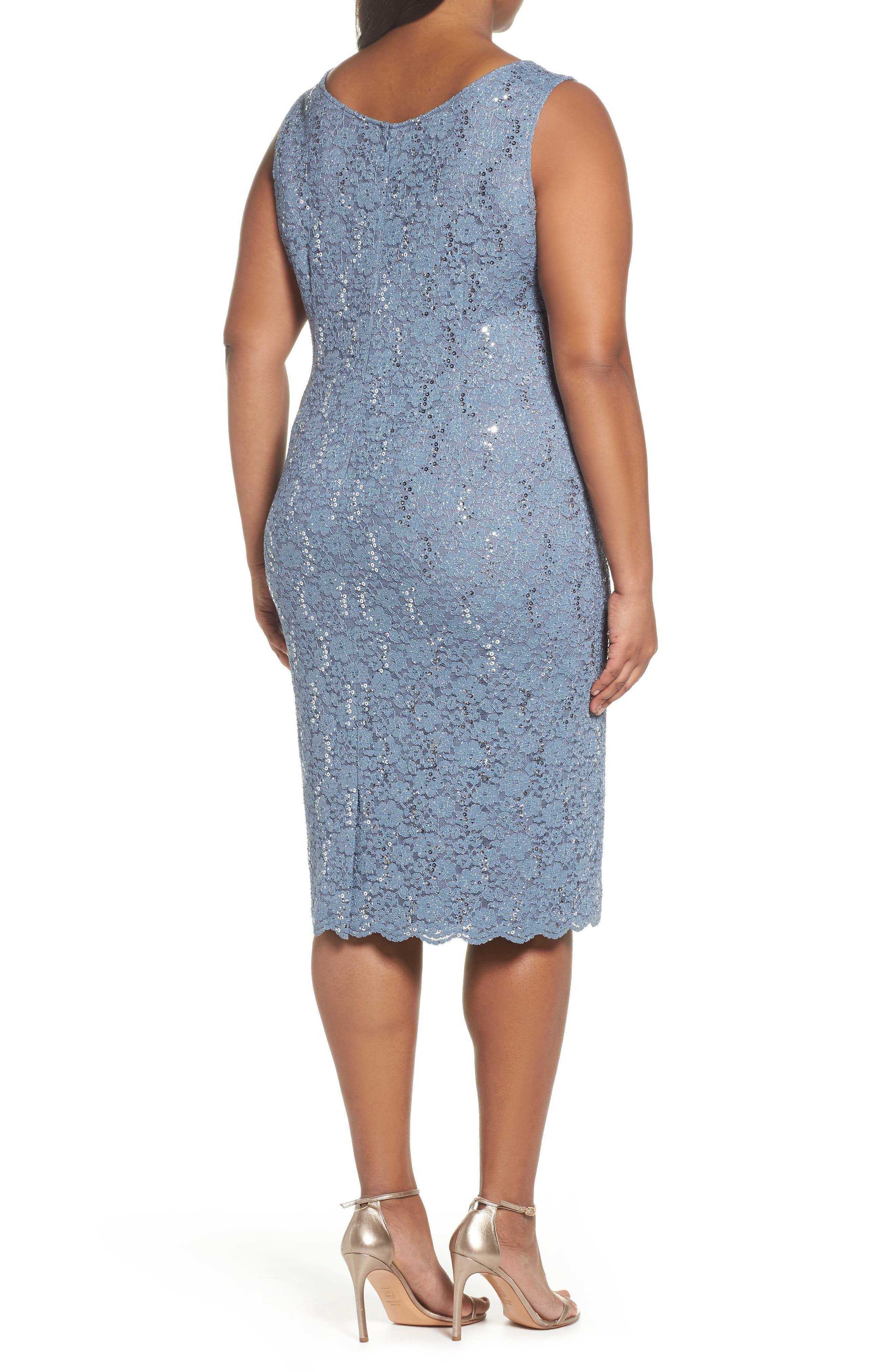 Sequin Lace Jacket Dress,                             Alternate thumbnail 2, color,                             Steel Blue