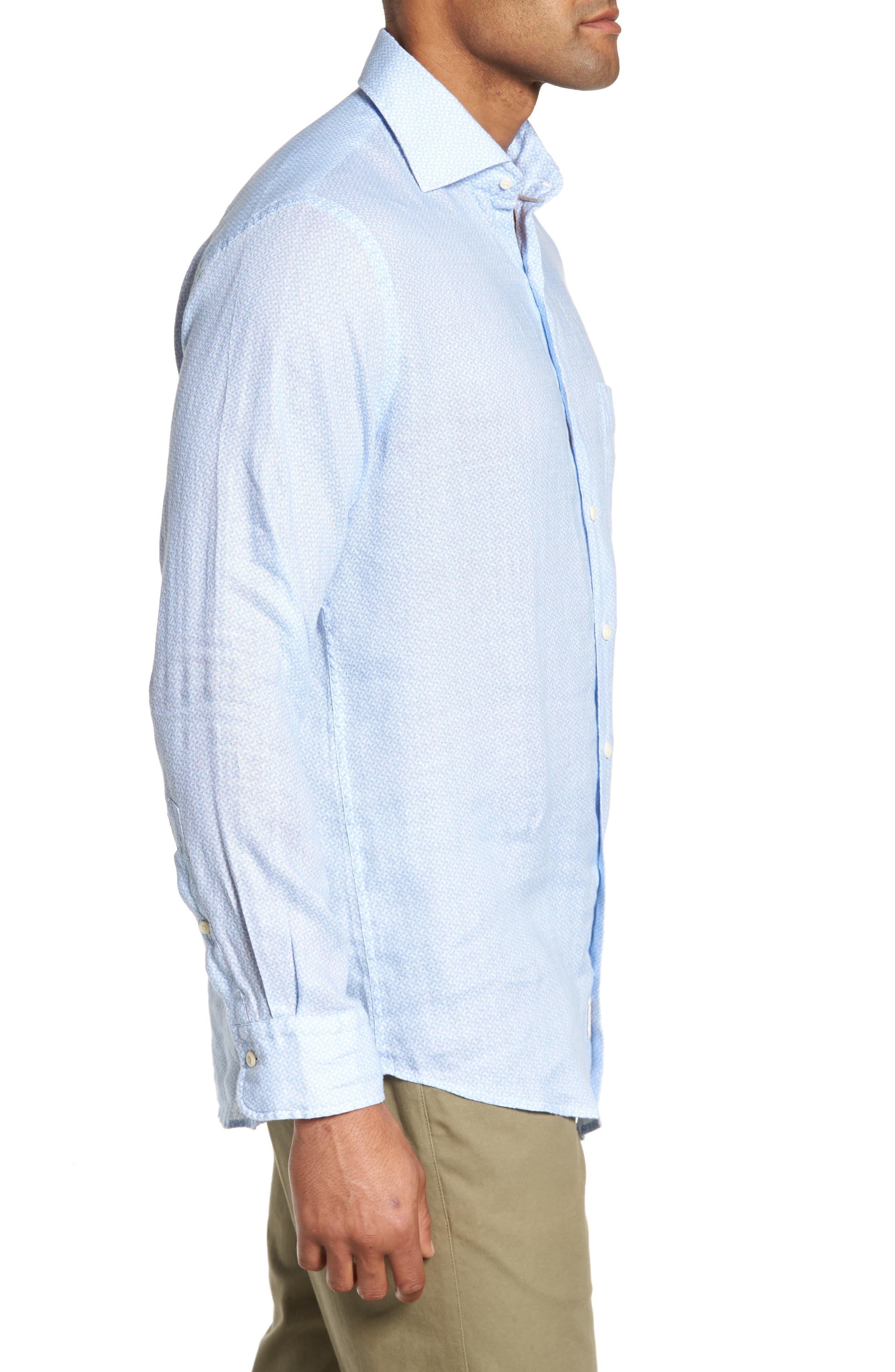 Whirlwind Regular Fit Linen Sport Shirt,                             Alternate thumbnail 3, color,                             Tar Heel Blue