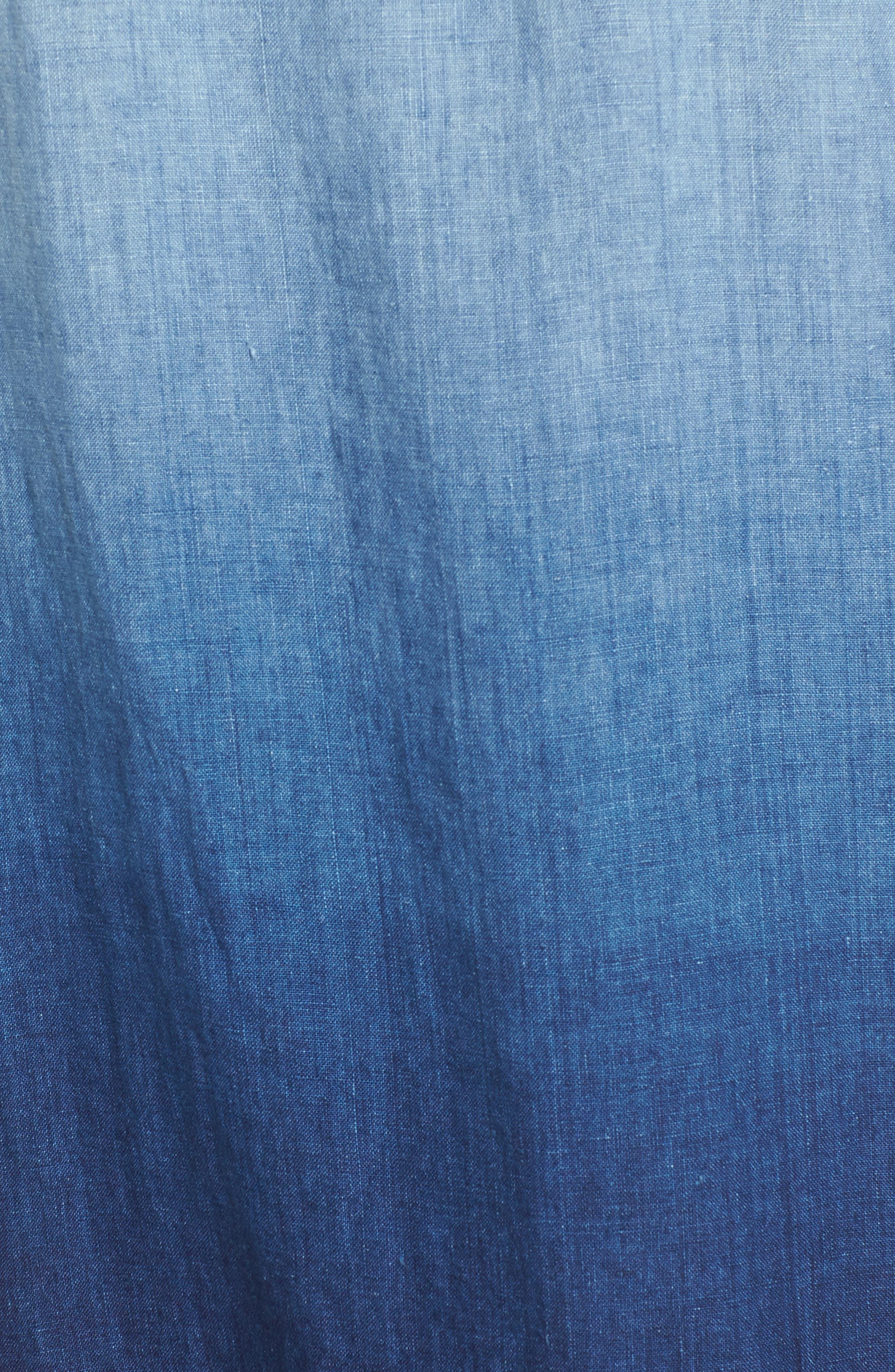 Indigo Dip Dyed Shift Dress,                             Alternate thumbnail 5, color,                             Dark Indigo Wash