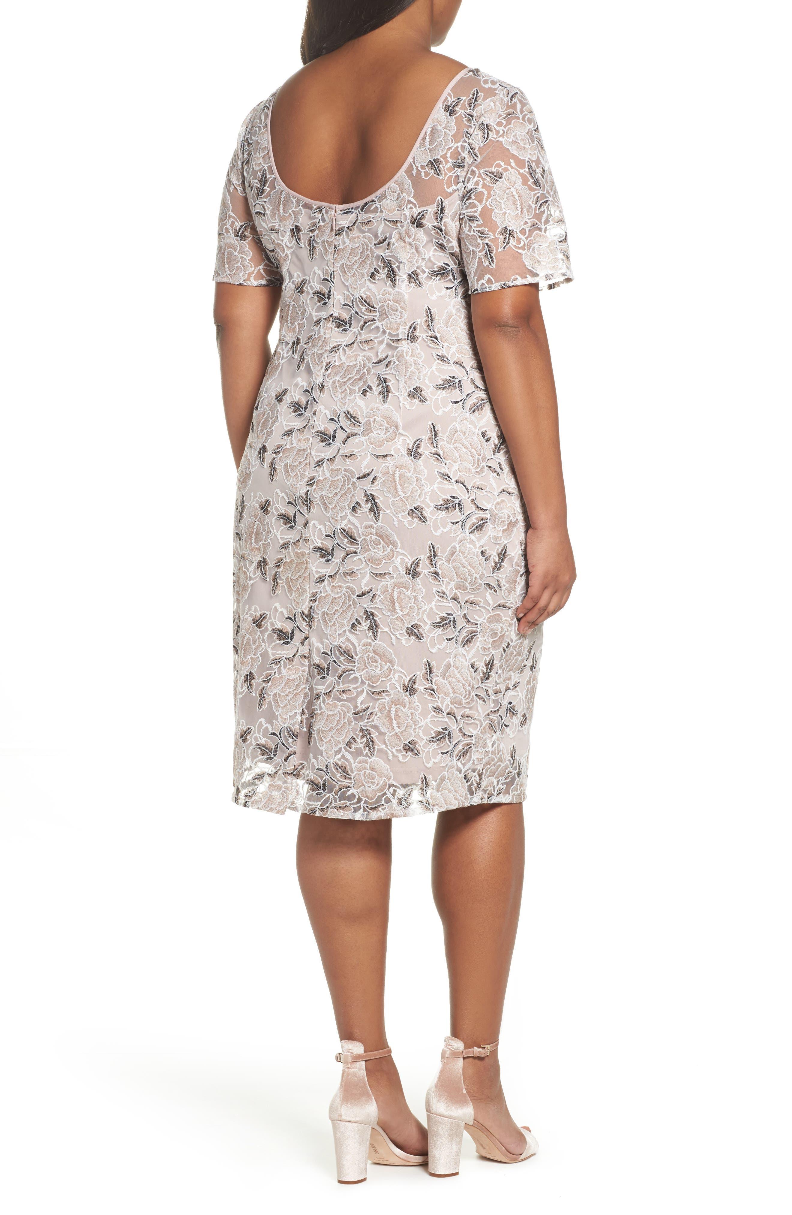 Lace Sheath Dress,                             Alternate thumbnail 2, color,                             Pink Cinnamon Multi