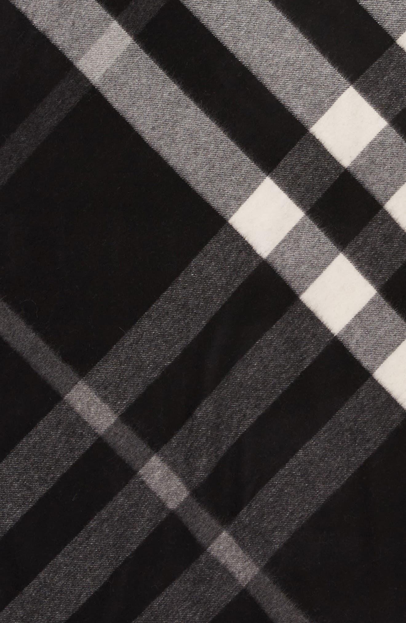 Mega Check Cashmere Scarf,                             Alternate thumbnail 3, color,                             Black