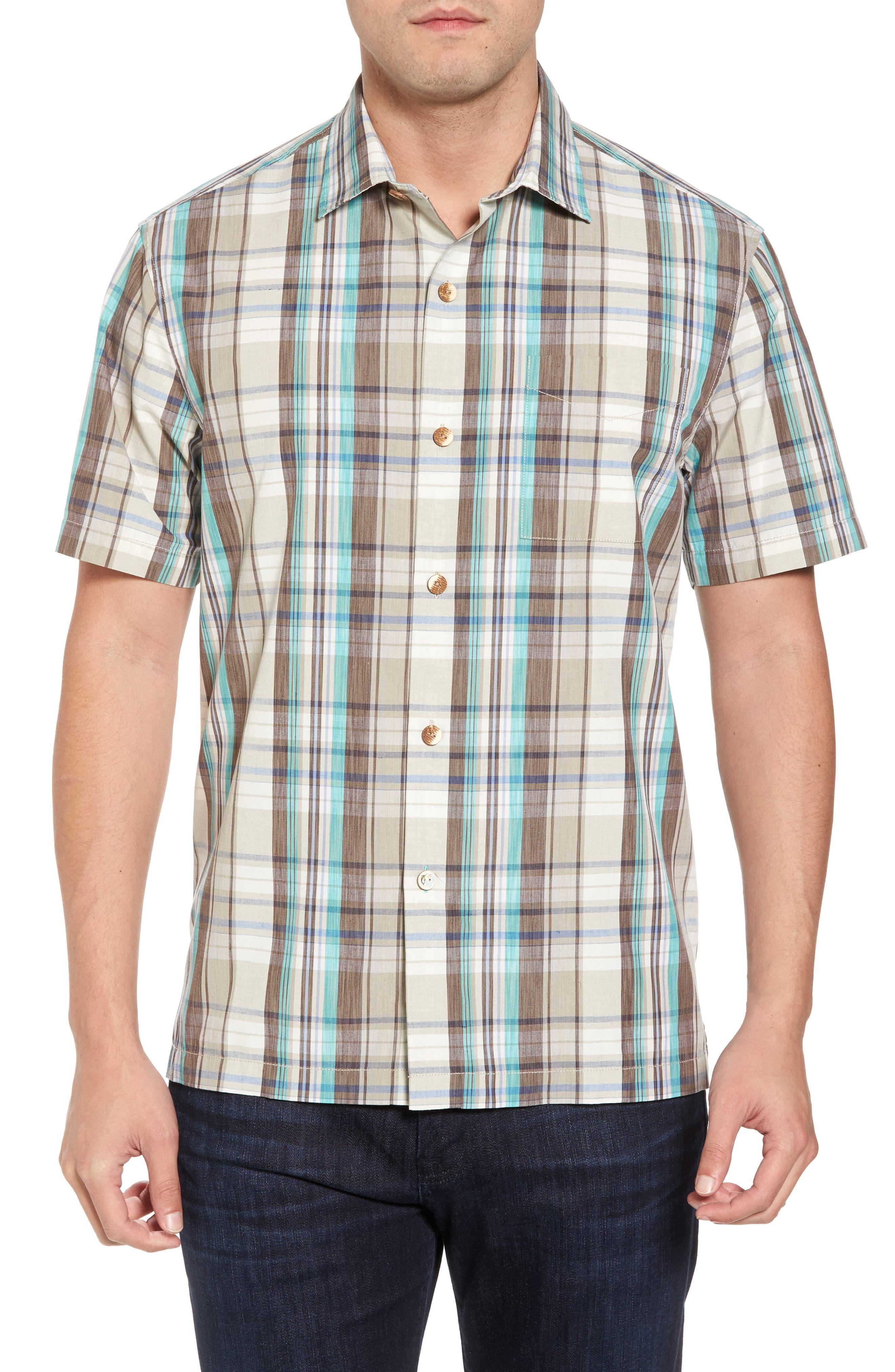 Royal Palm Plaid Sport Shirt,                             Main thumbnail 1, color,                             Twill