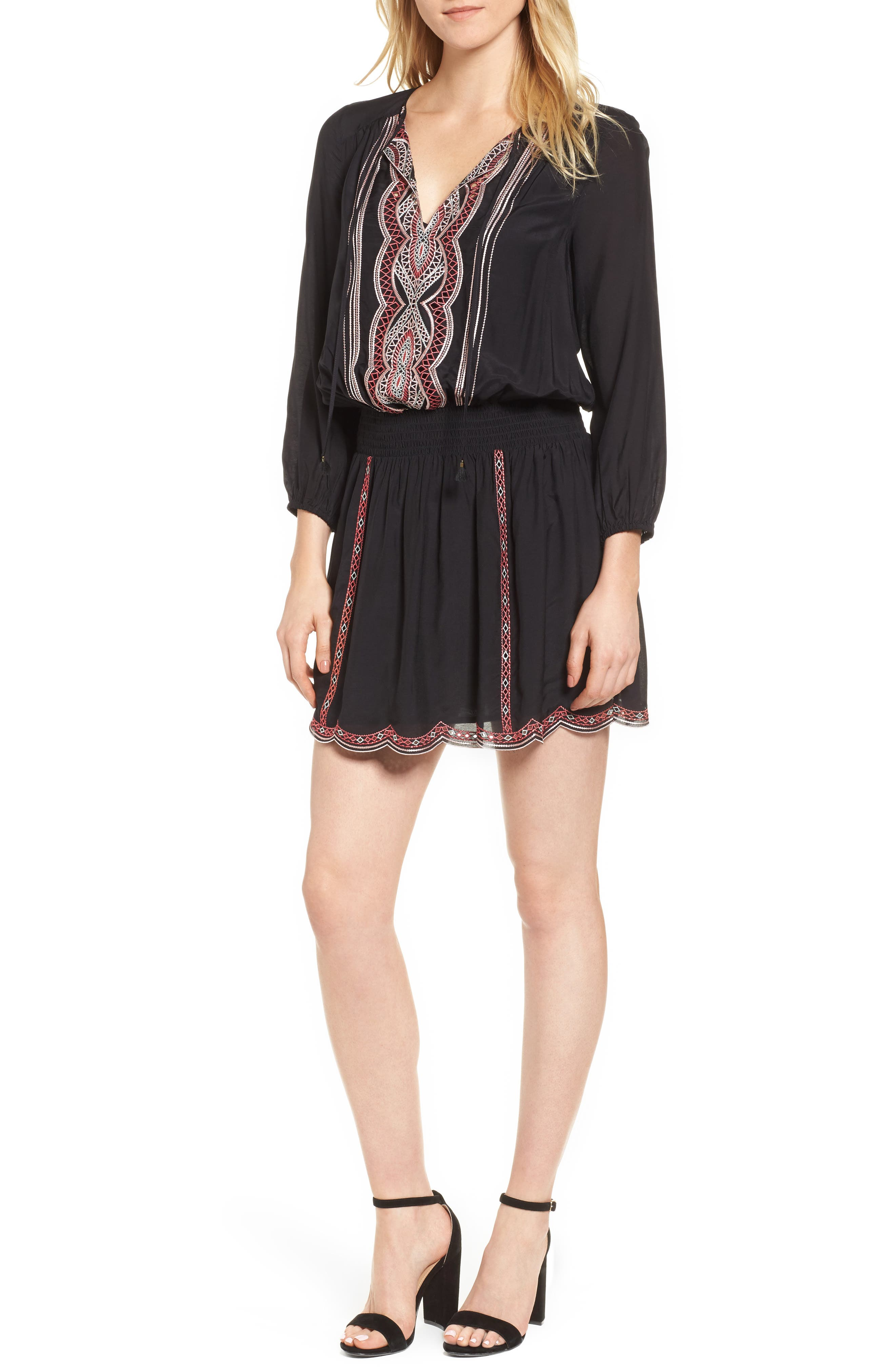 Embroidered Blouson Minidress,                         Main,                         color, Black