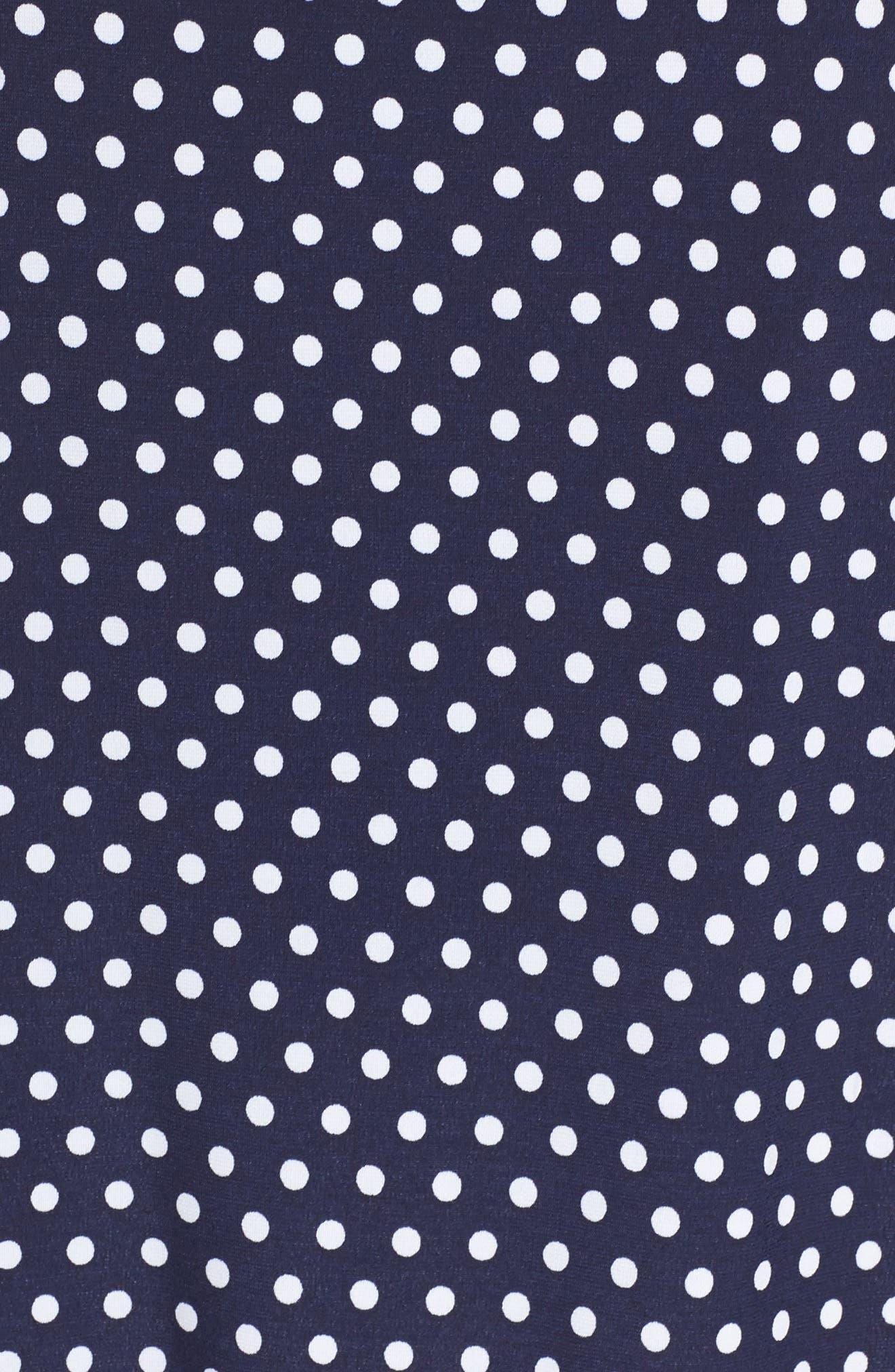 Simple Dot Peasant Top,                             Alternate thumbnail 5, color,                             True Navy/ White