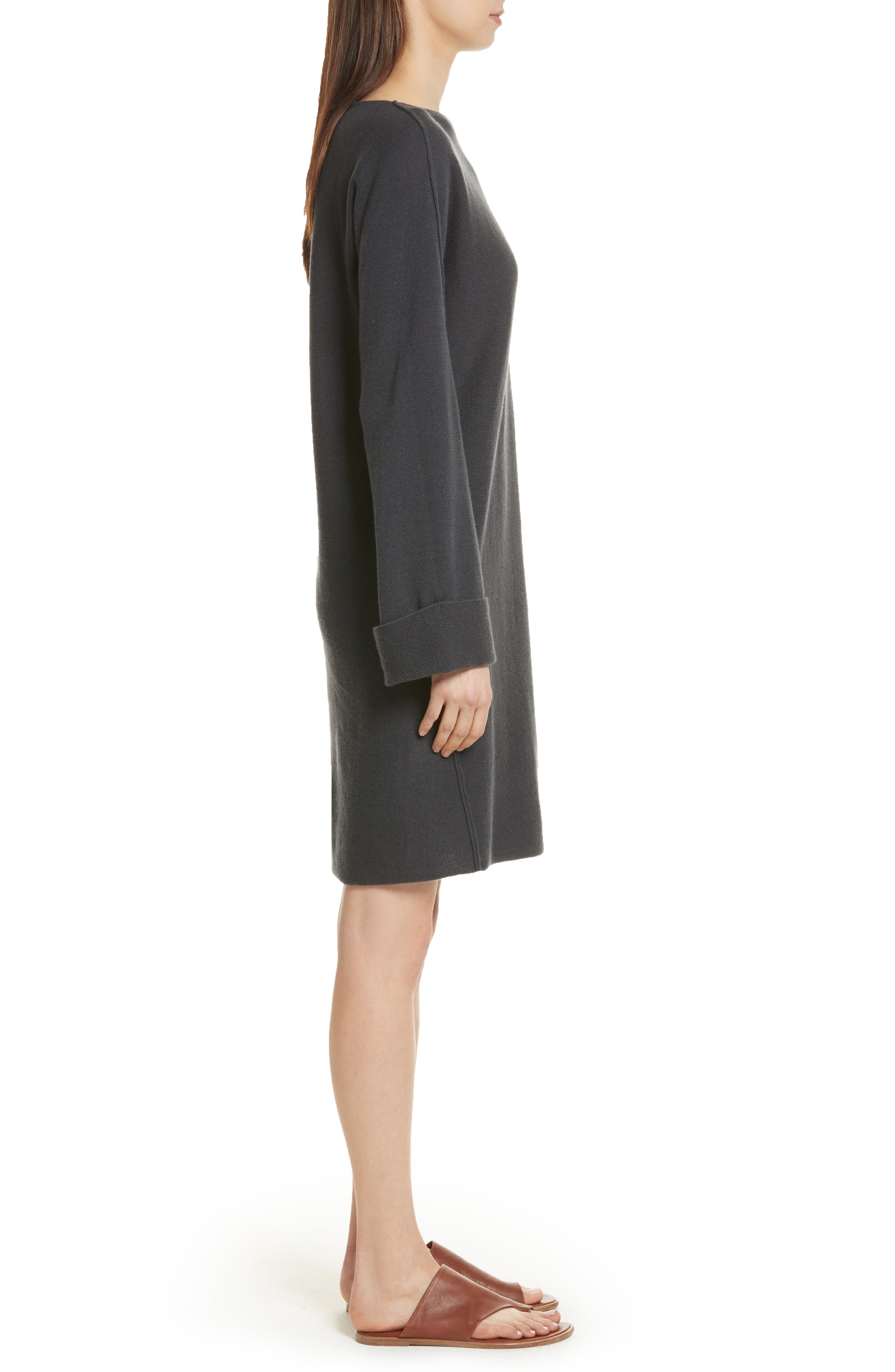 Twisted Seam Wool & Cashmere Sweater Dress,                             Alternate thumbnail 3, color,                             Slate