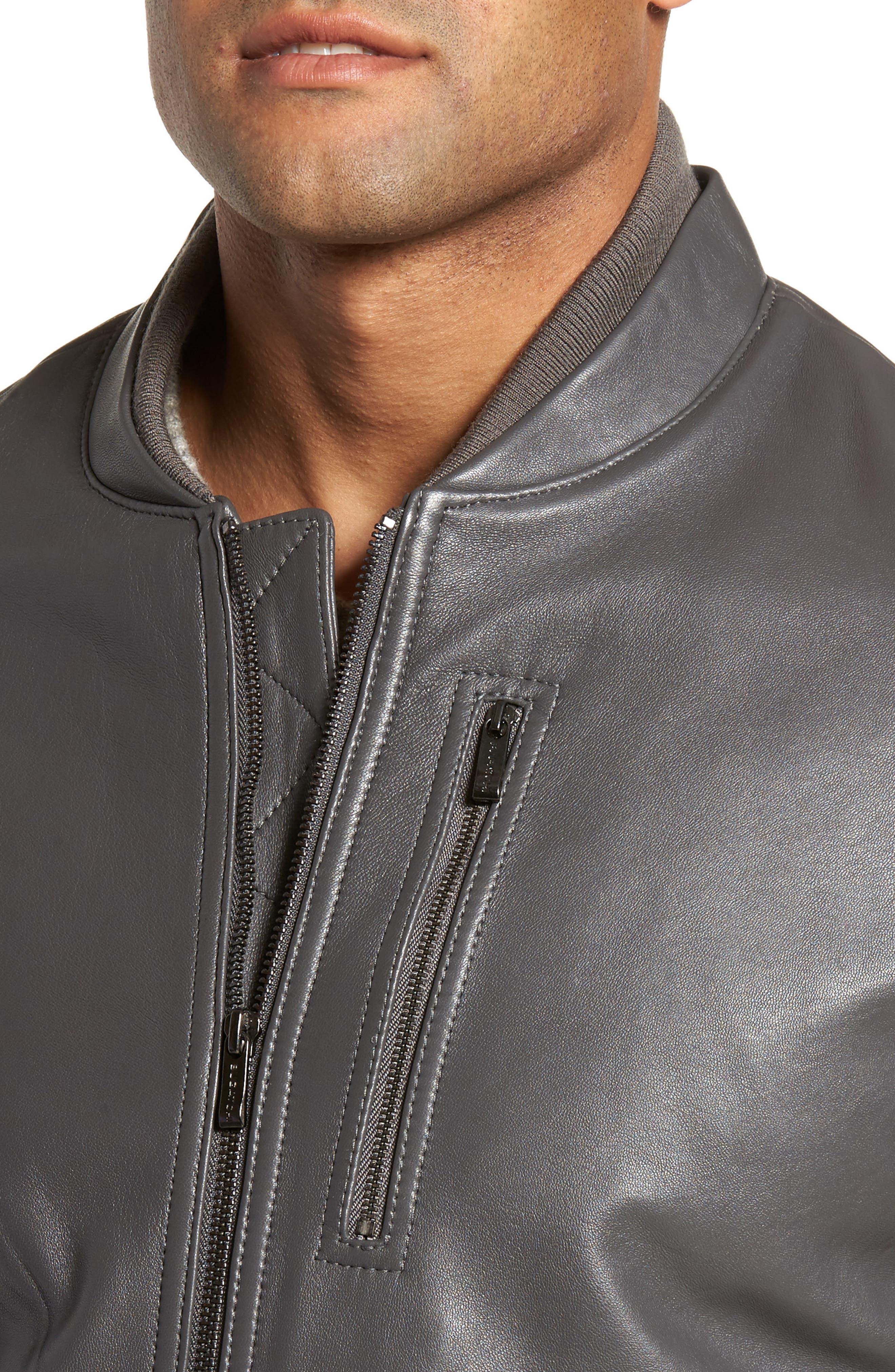 Alternate Image 4  - Bugatchi Leather Bomber Jacket
