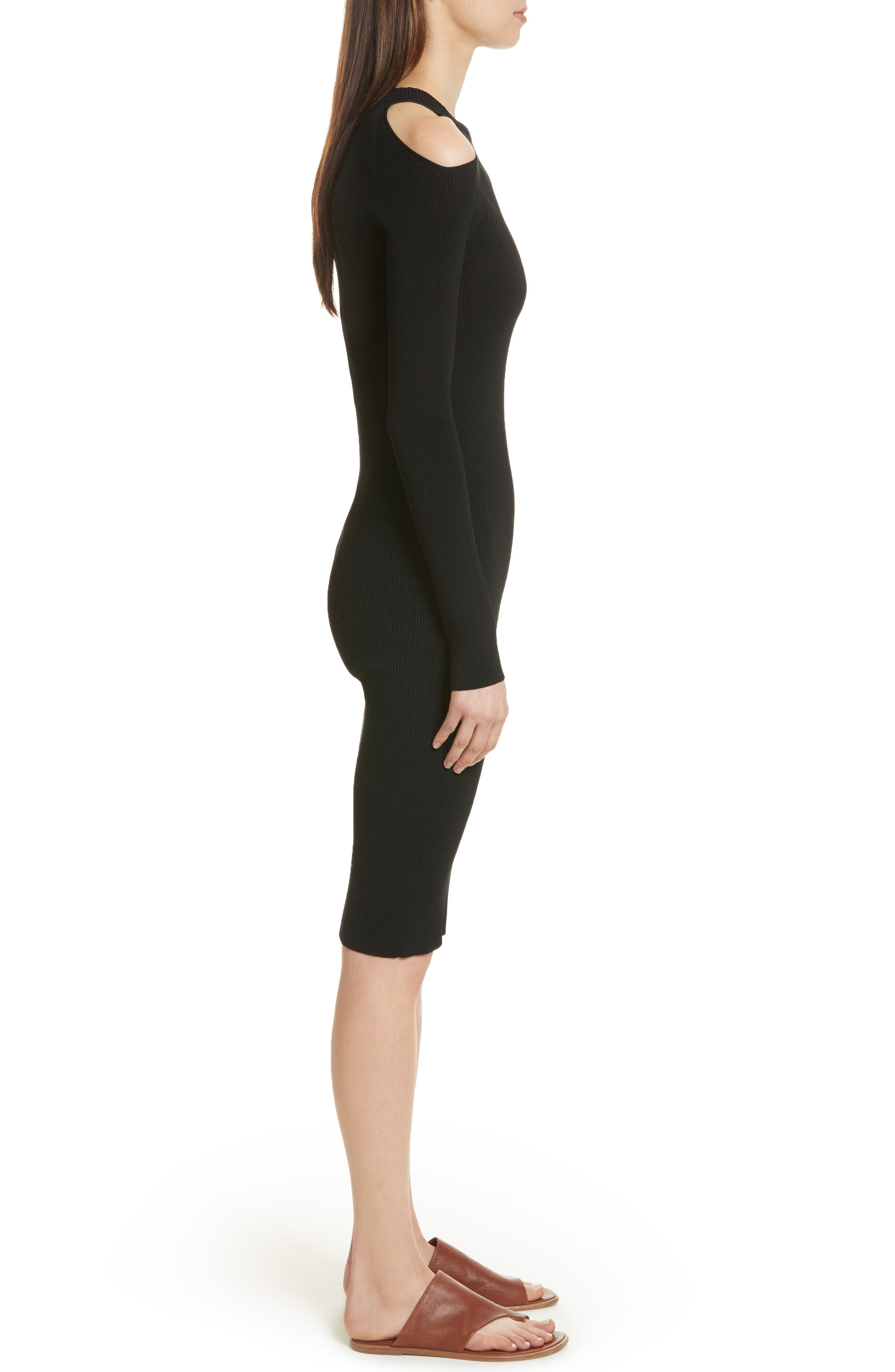 Cold Shoulder Body-Con Dress,                             Alternate thumbnail 3, color,                             Black