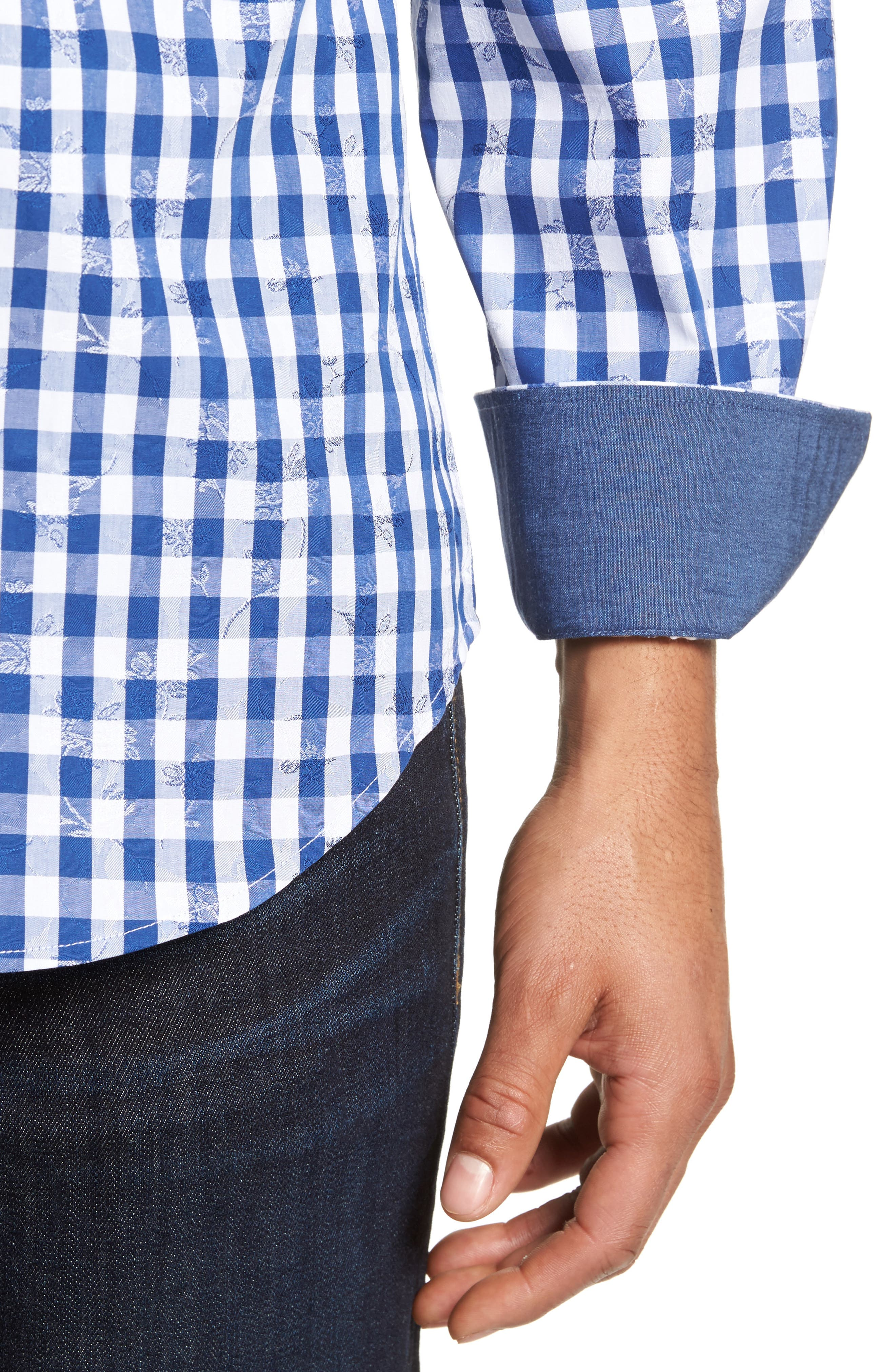 Shaped Fit Check Sport Shirt,                             Alternate thumbnail 4, color,                             Navy