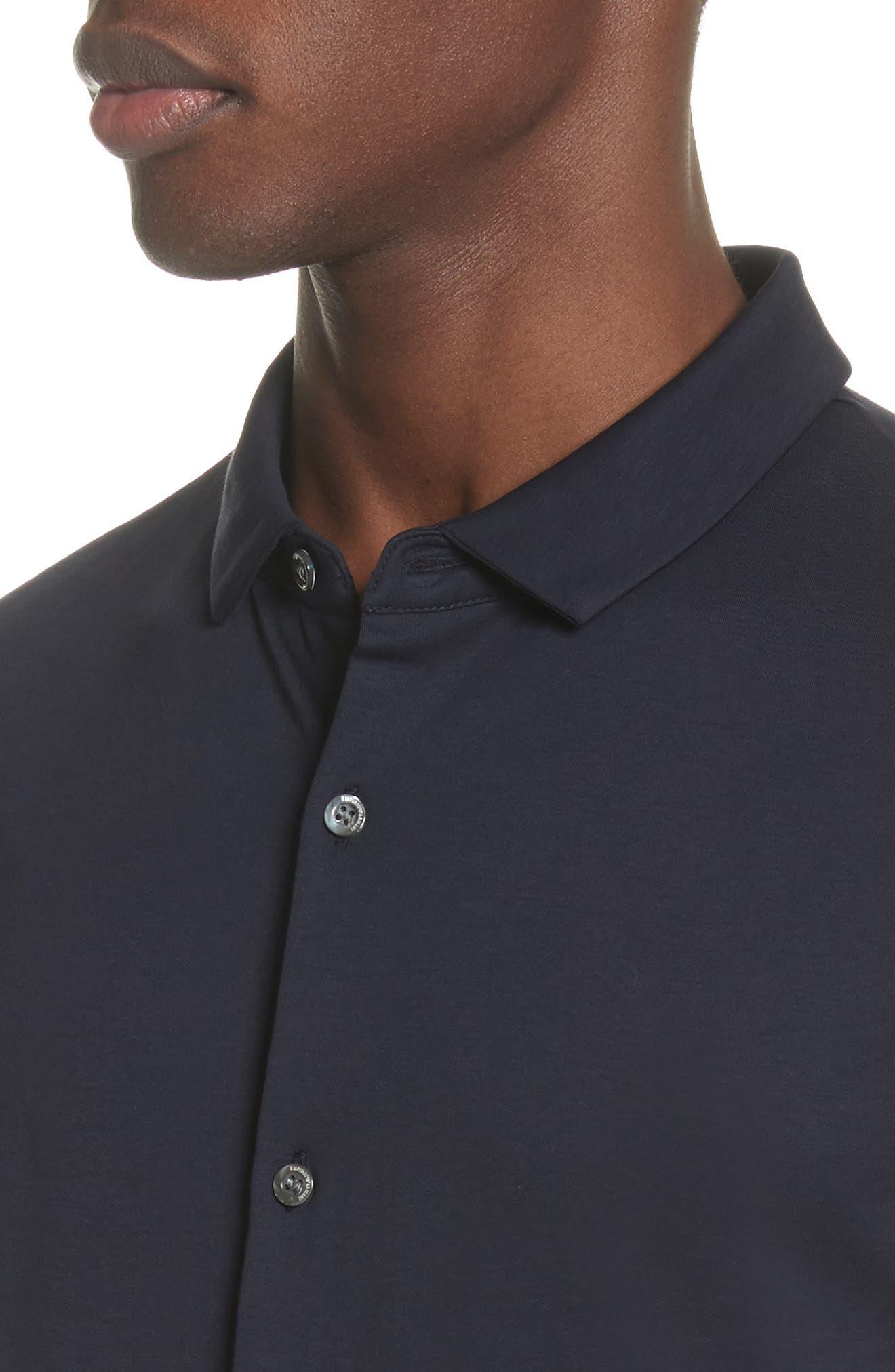 Slim Fit Cotton Knit Sport Shirt,                             Alternate thumbnail 4, color,                             Blue Navy