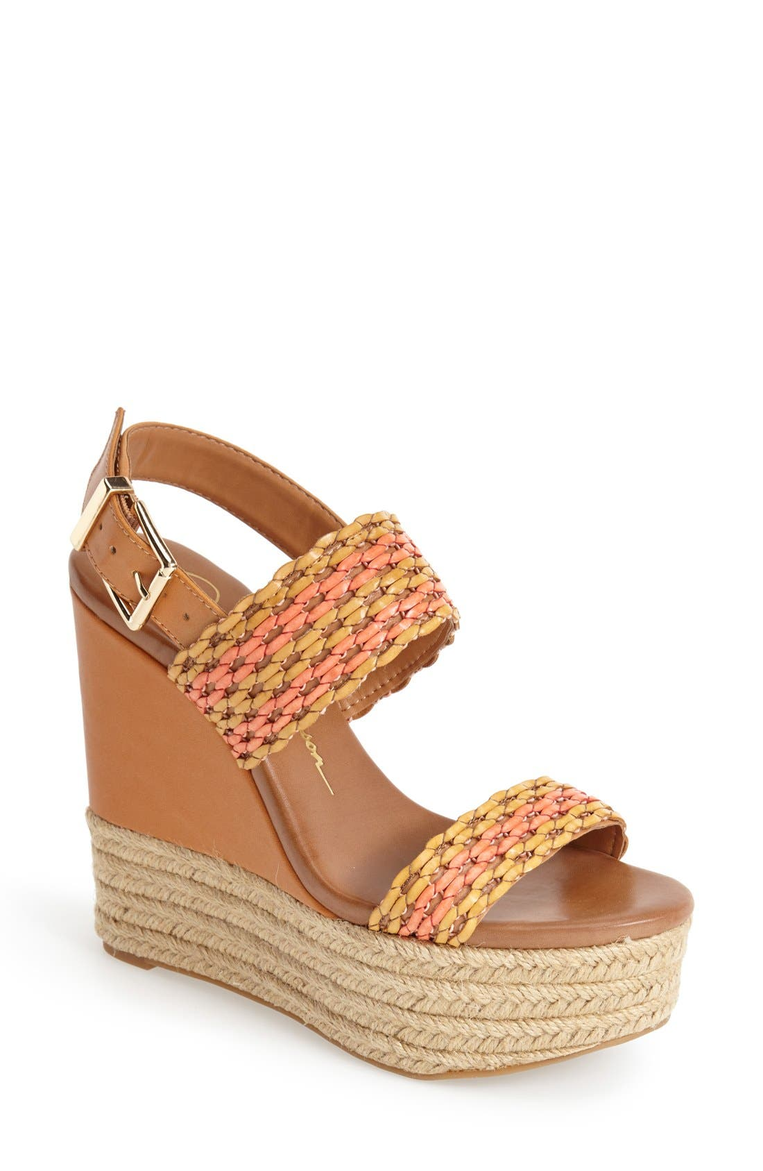 'Allyn' Wedge Platform Leather Sandal,                             Main thumbnail 1, color,                             Beachwood