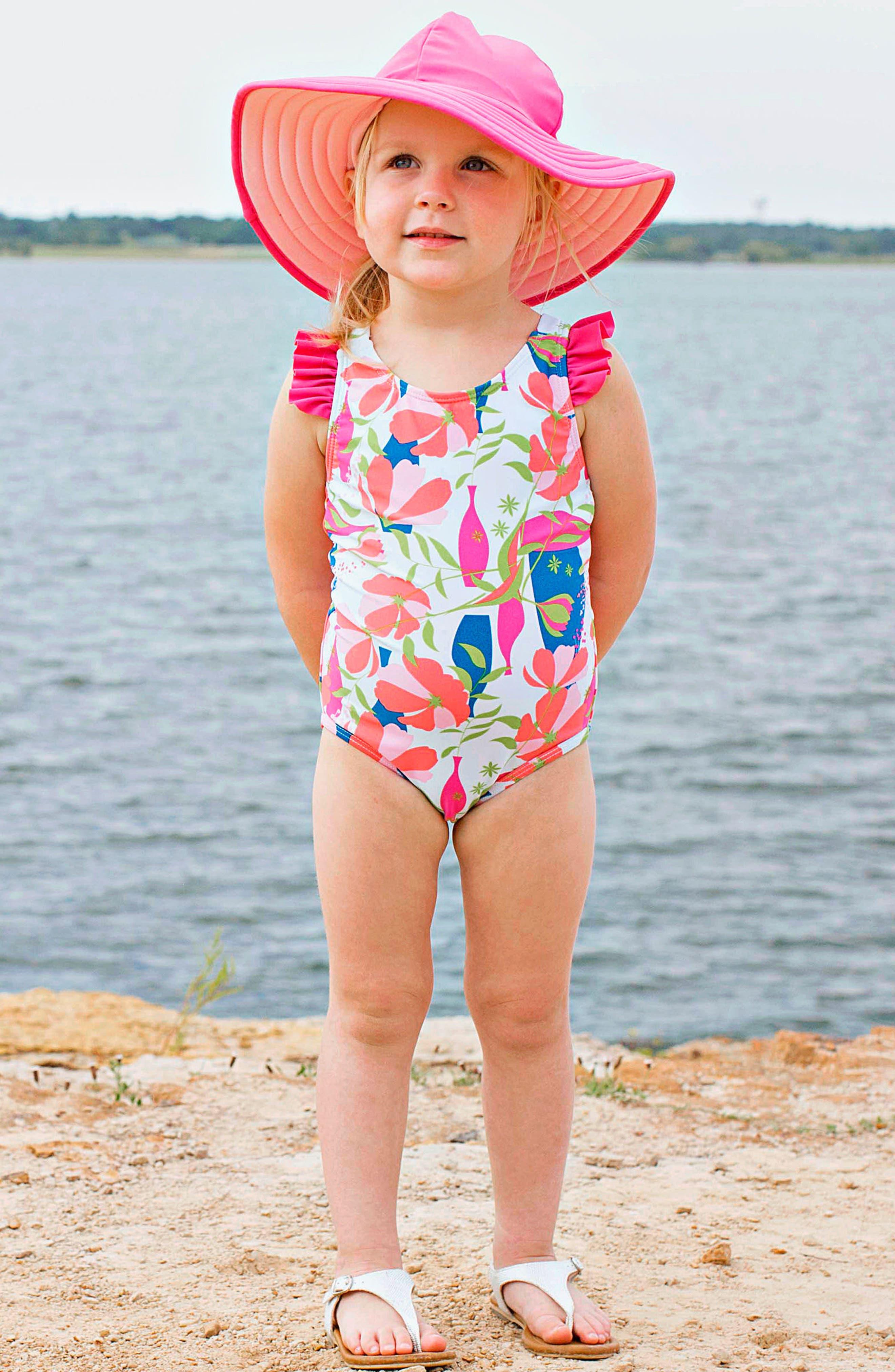 One-Piece Swimsuit & Hat Set,                             Alternate thumbnail 3, color,                             Pink