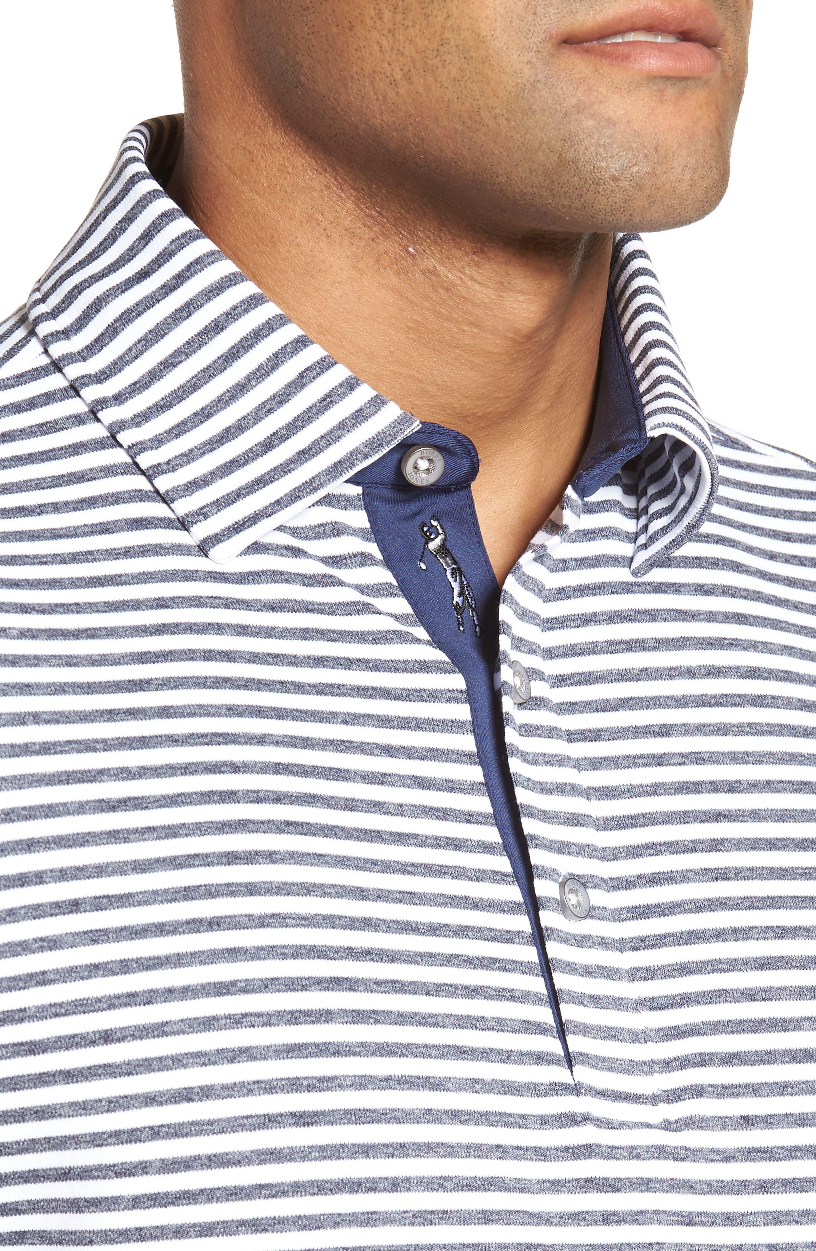 XH2O Tranquil Stripe Jersey Polo,                             Alternate thumbnail 4, color,                             White