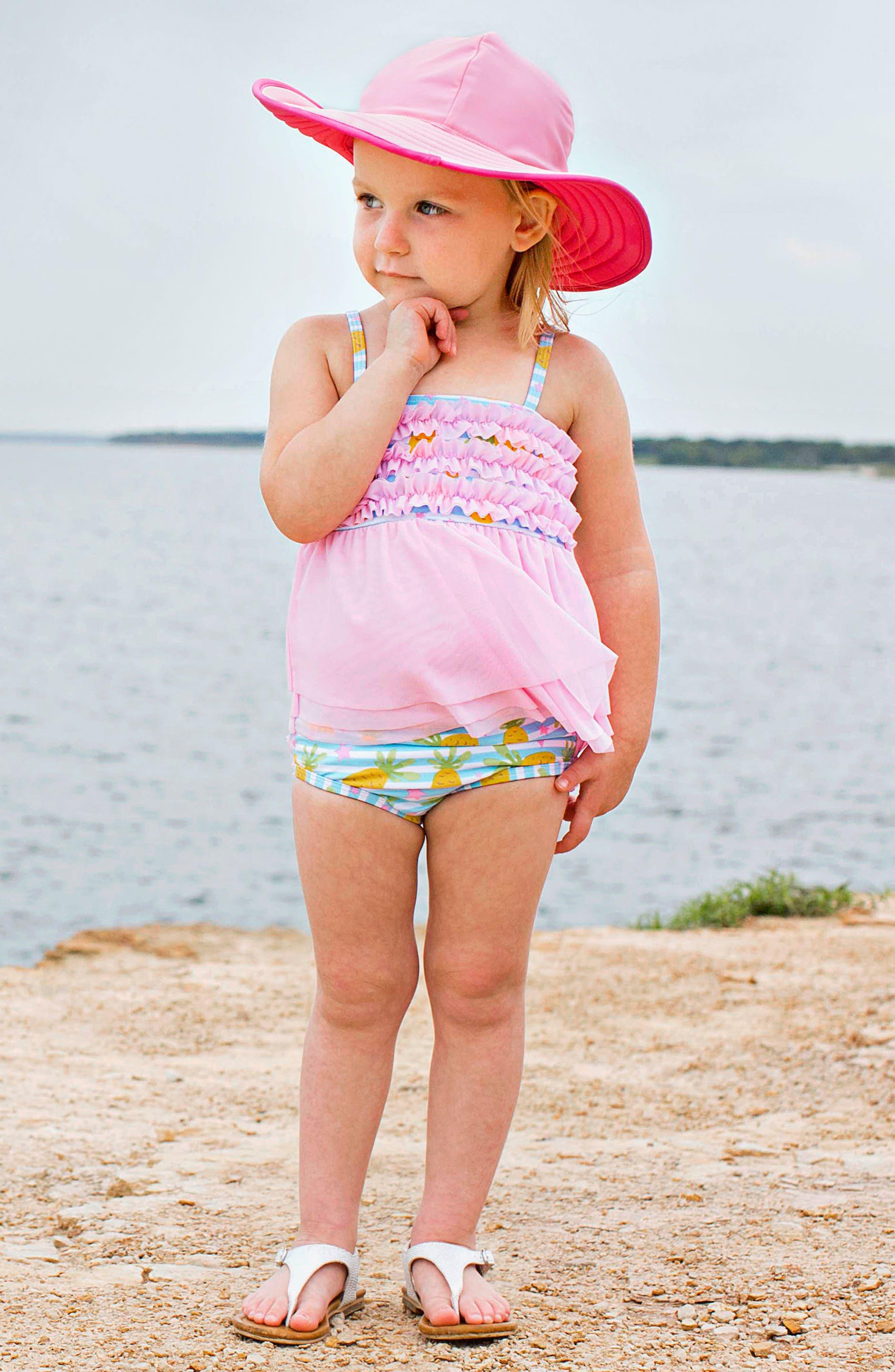 Paradise Mesh Two-Piece Swimsuit & Hat Set,                             Alternate thumbnail 3, color,                             Blue