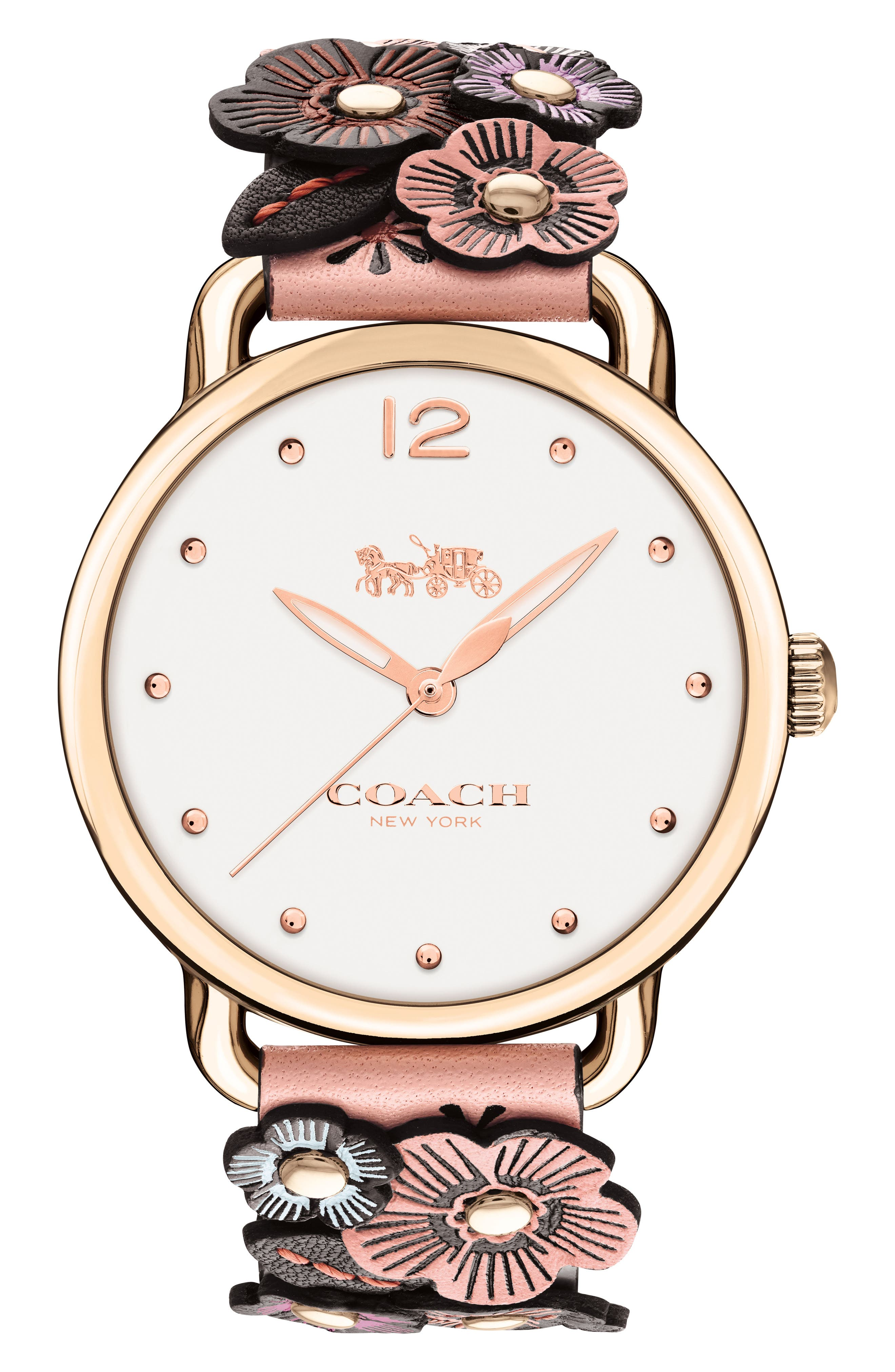 Delancey Leather Strap Watch, 36mm,                         Main,                         color, Beechwood/White/Rose Gold