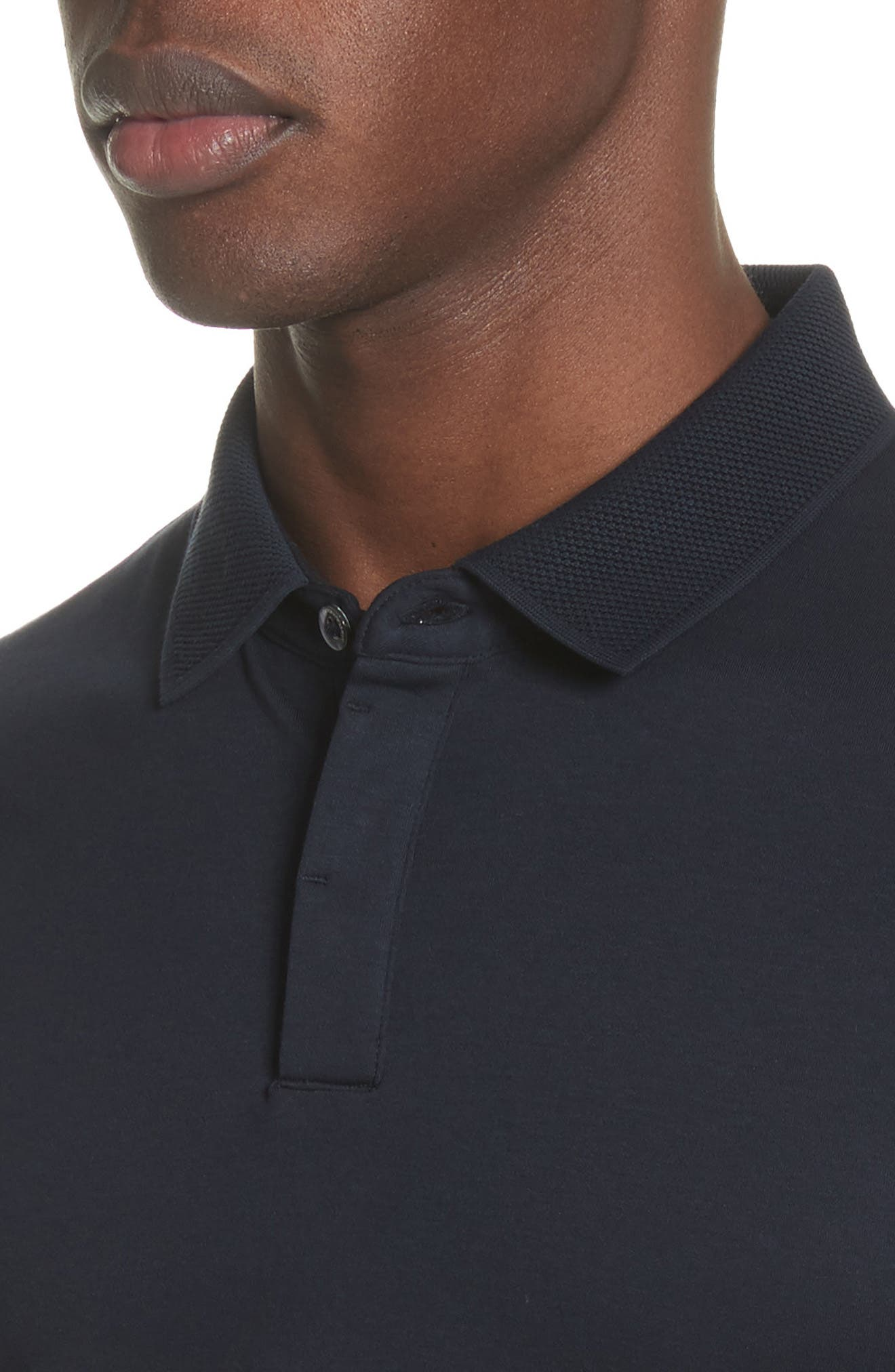 Slim Fit Polo,                             Alternate thumbnail 4, color,                             Solid Dark Blue