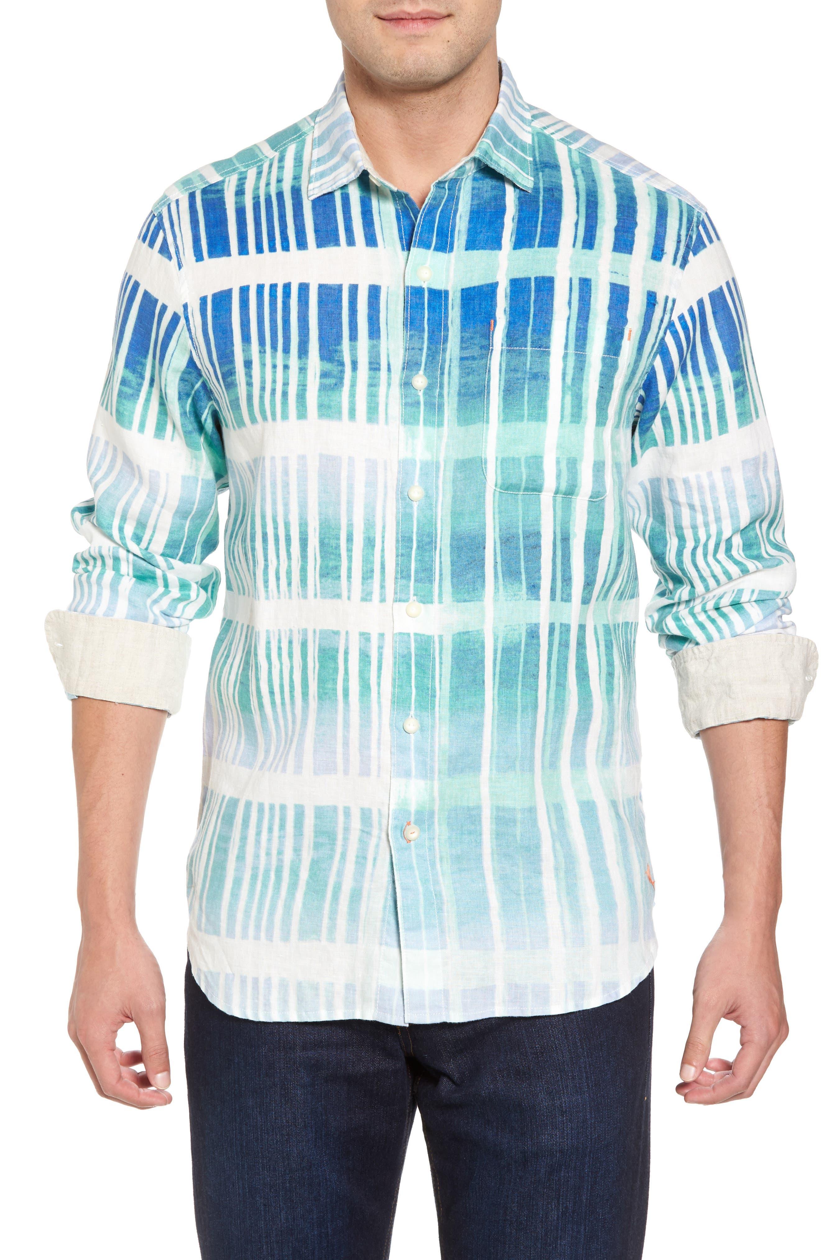 Okeechobee Ombré Breezer Sport Shirt,                             Main thumbnail 1, color,                             Santorini Blue