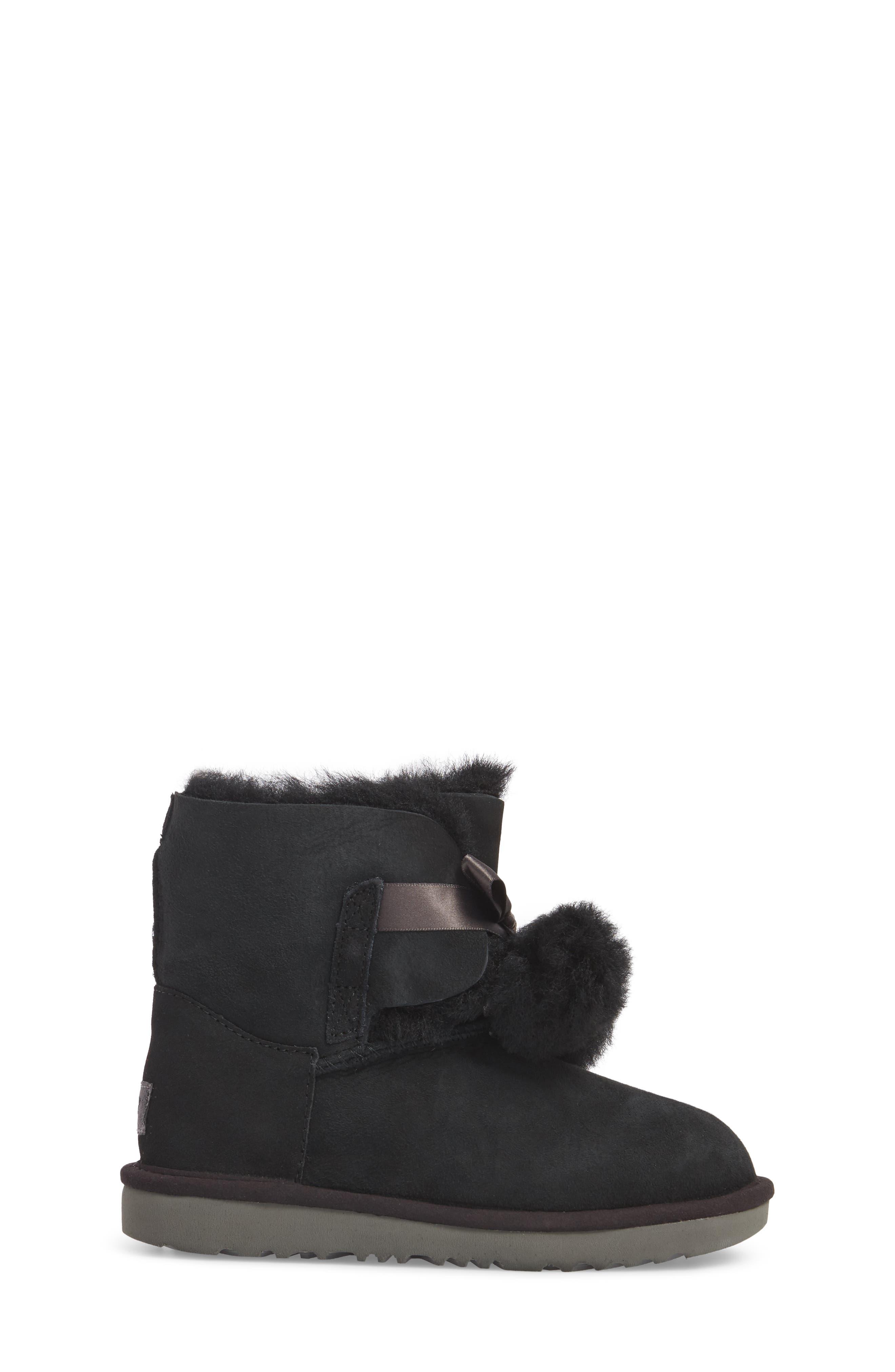 Gita Water-Resistant Genuine Shearling Pom Bootie,                             Alternate thumbnail 3, color,                             Black