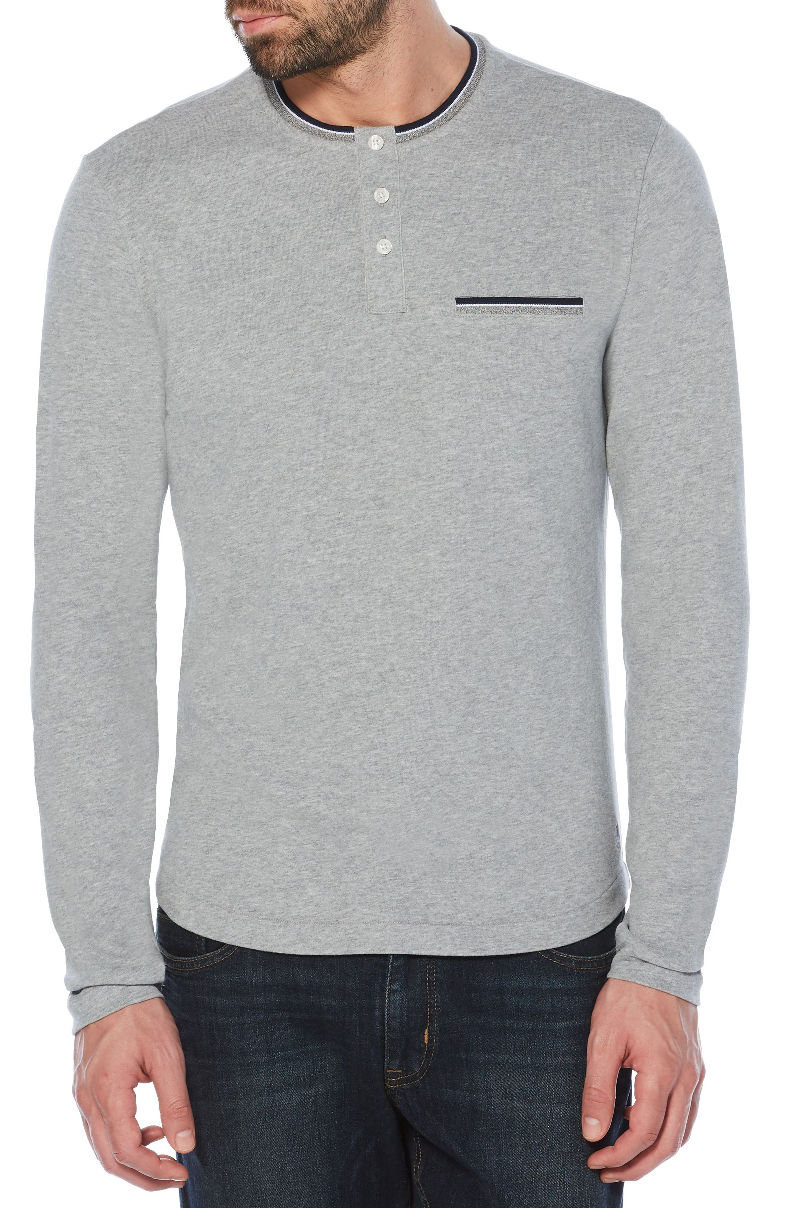 Sueded Tipped Henley,                         Main,                         color, Athletic Grey Heather