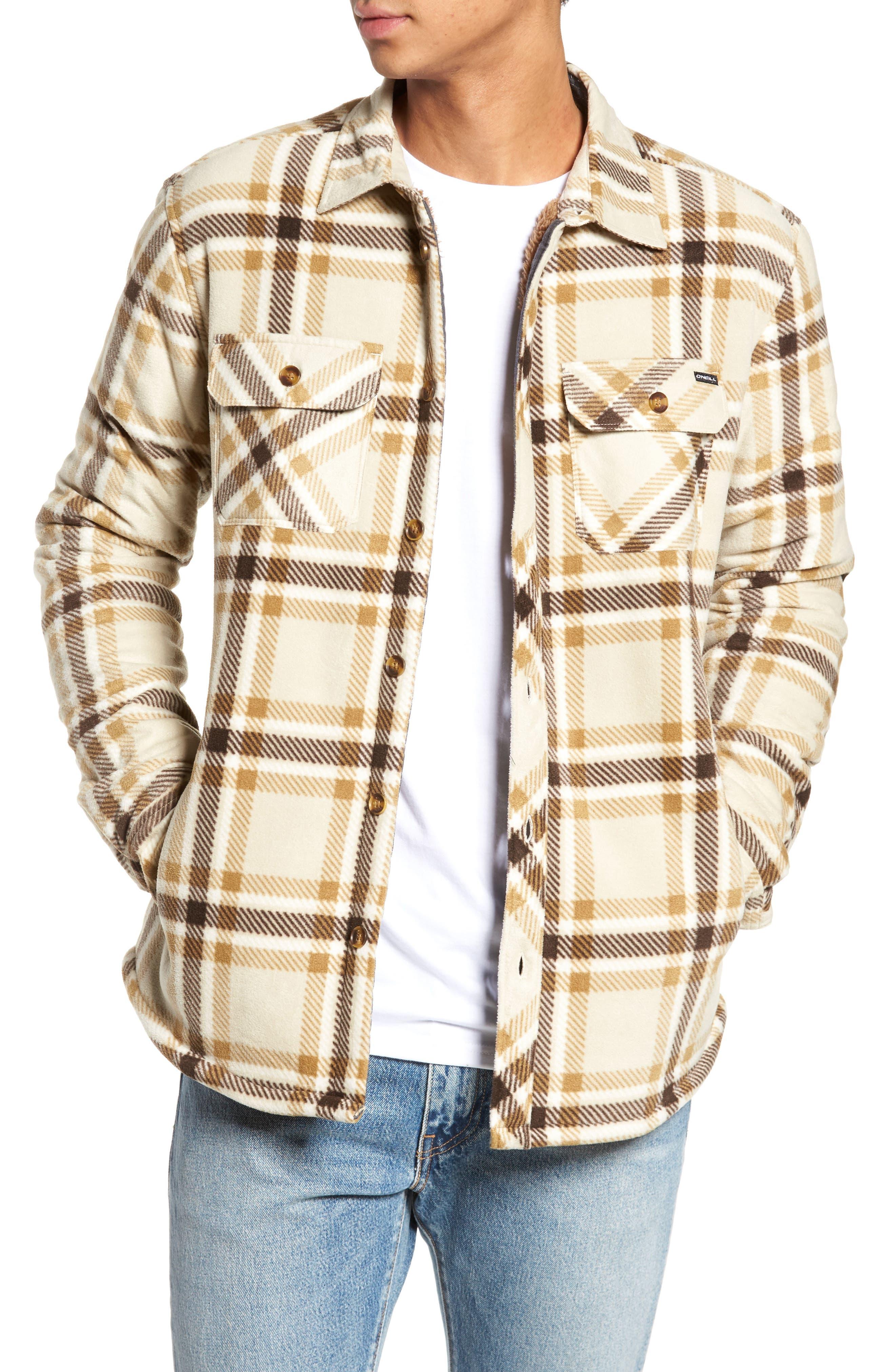 Glacier Heat Dome Plaid Fleece Shirt,                         Main,                         color, Stone