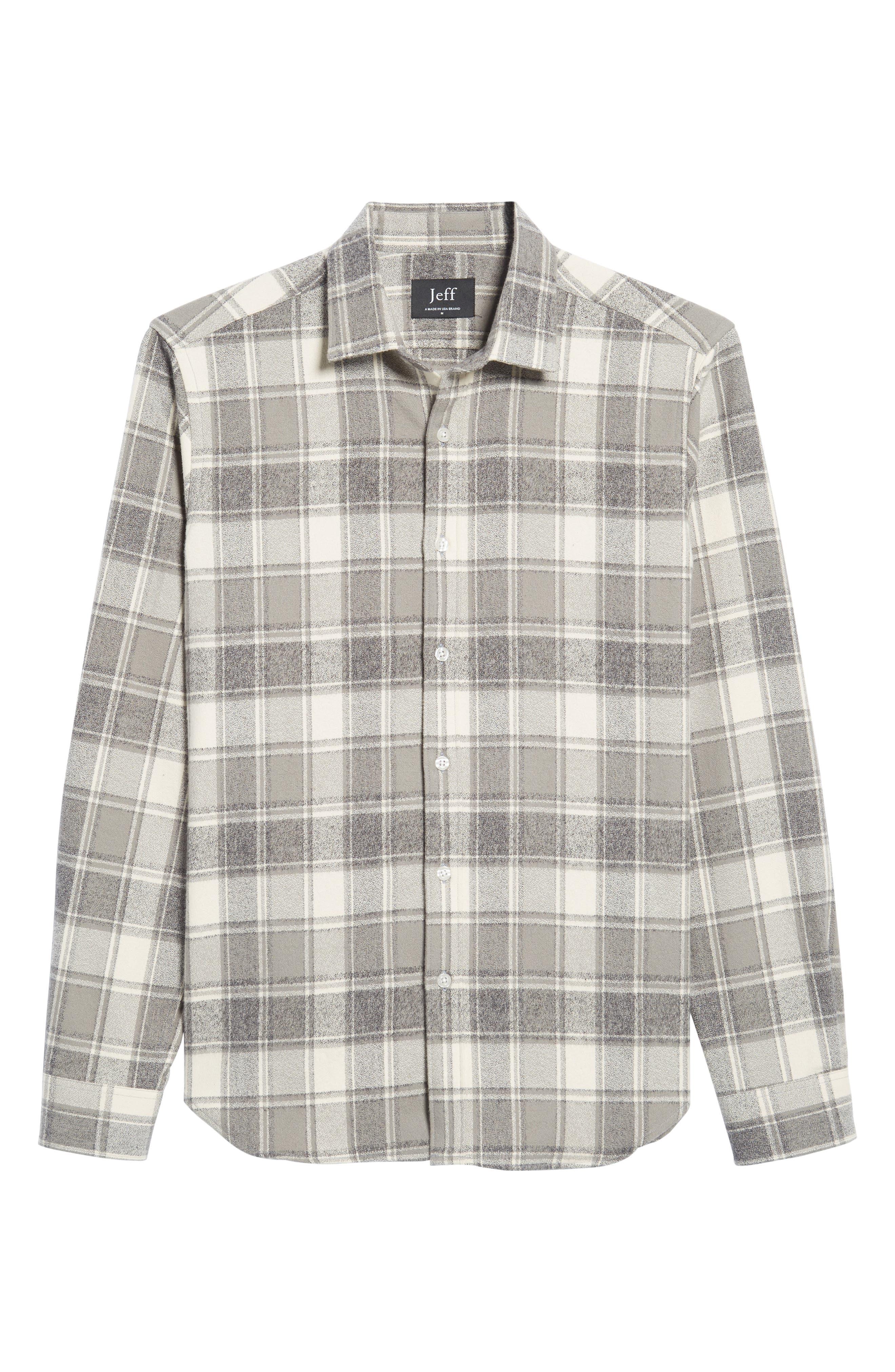 Ma Slim Fit Plaid Sport Shirt,                             Alternate thumbnail 6, color,                             Iron
