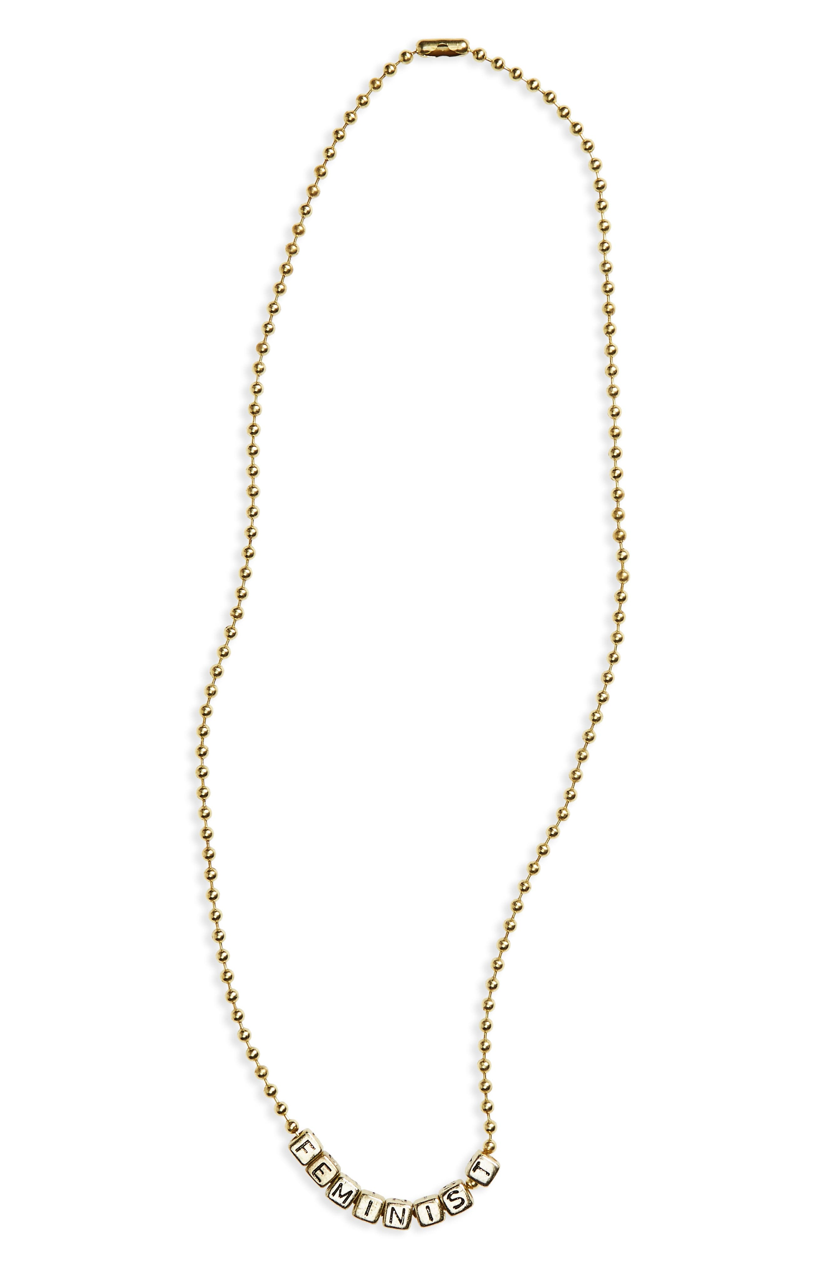 Feminist Charm Necklace,                             Main thumbnail 1, color,                             Gold