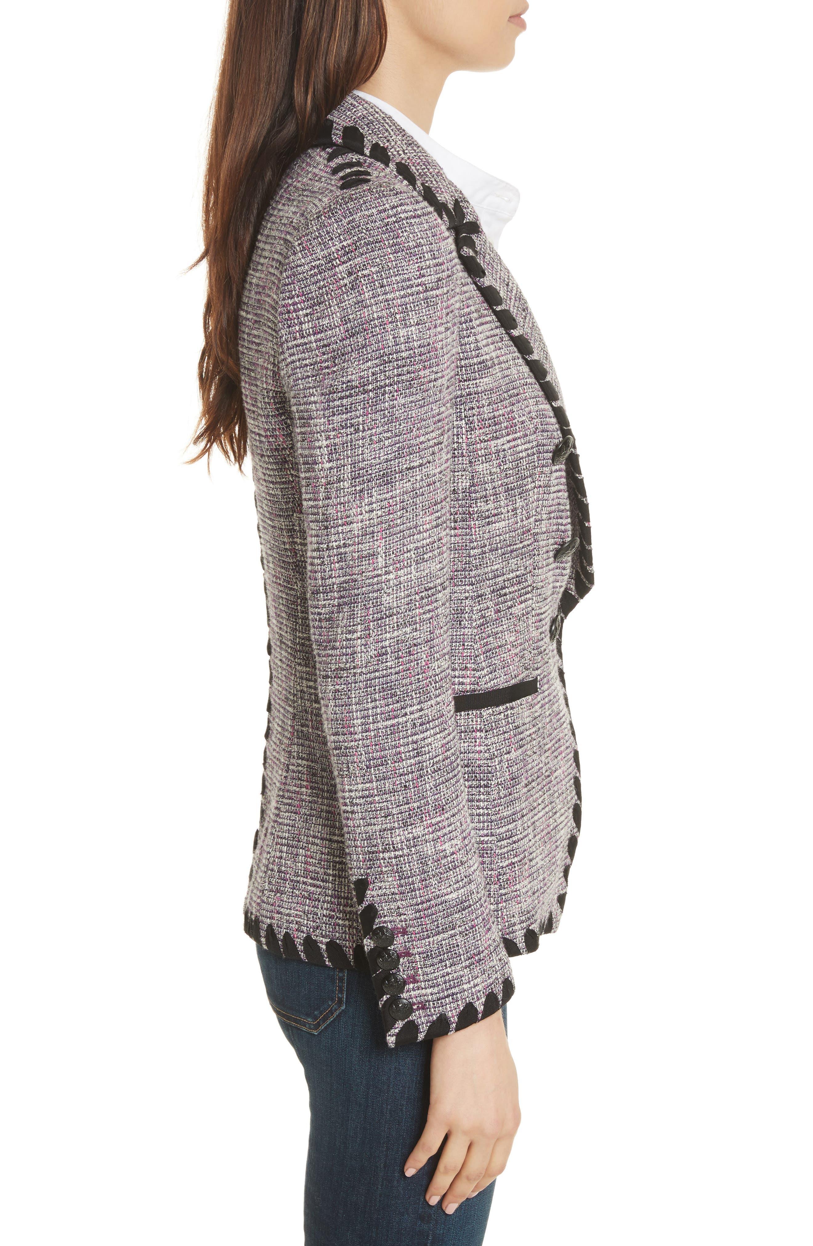 Octivia Tweed Blazer,                             Alternate thumbnail 3, color,                             Pink/ Black/ White