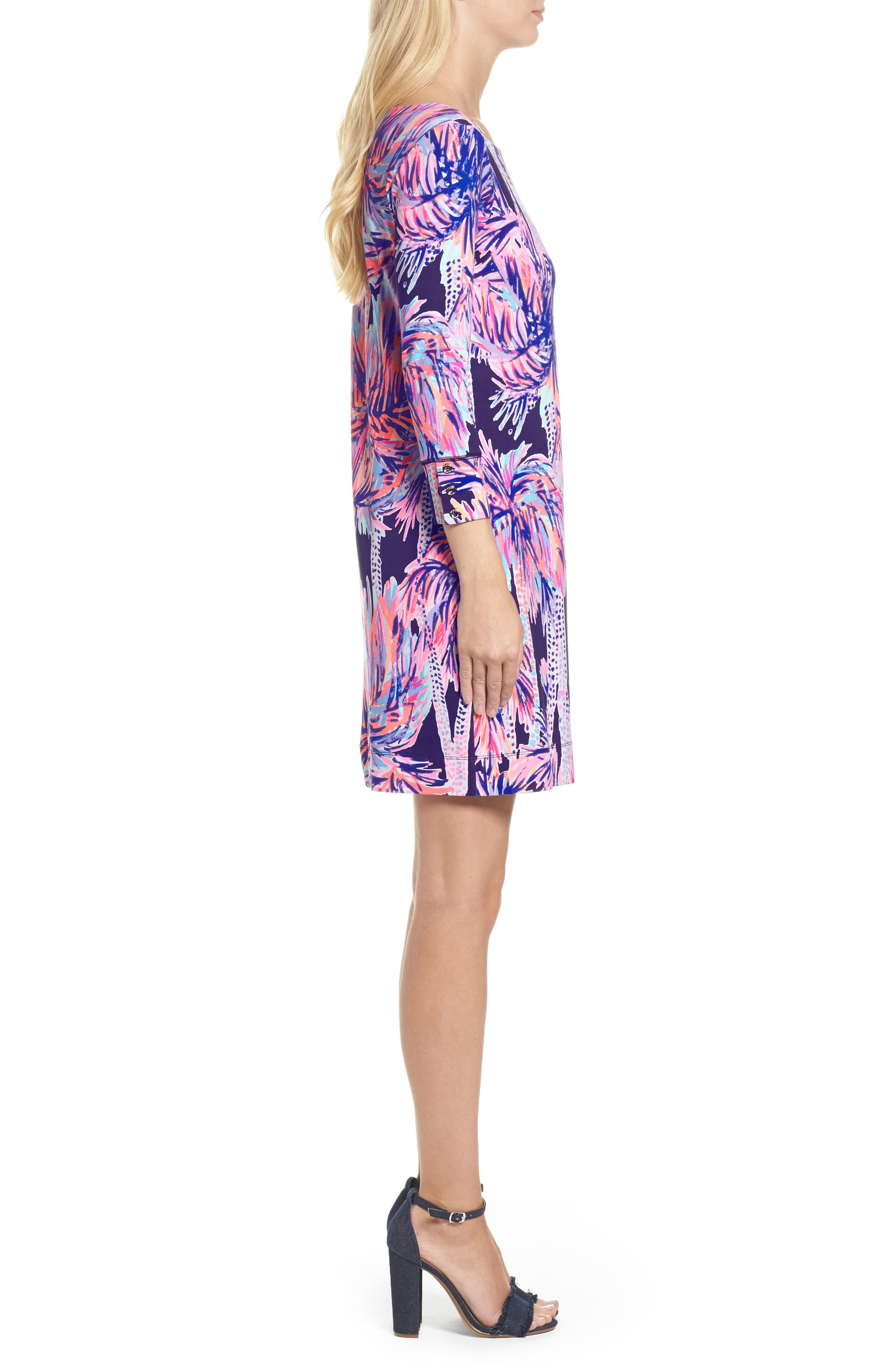 Sophie UPF 50+ Dress,                             Alternate thumbnail 3, color,                             Bright Navy Palms Up