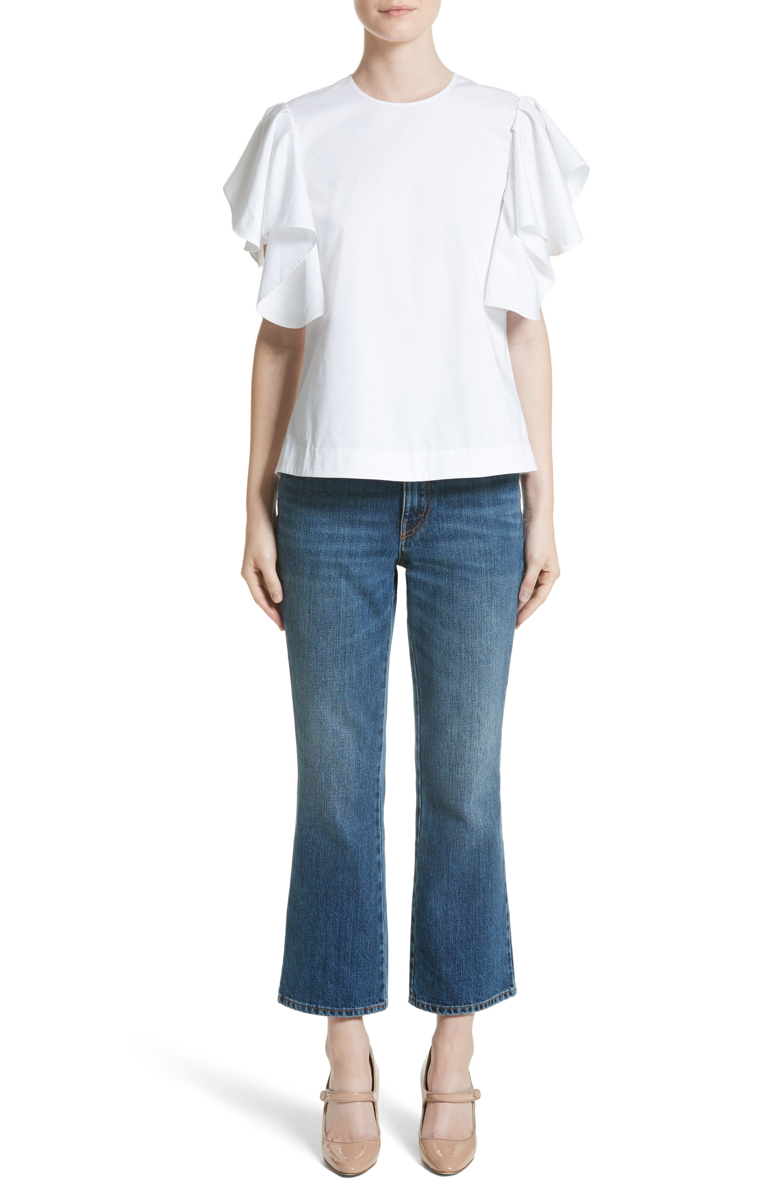 Alternate Image 7  - Co Ruffle Sleeve Cotton Poplin Top