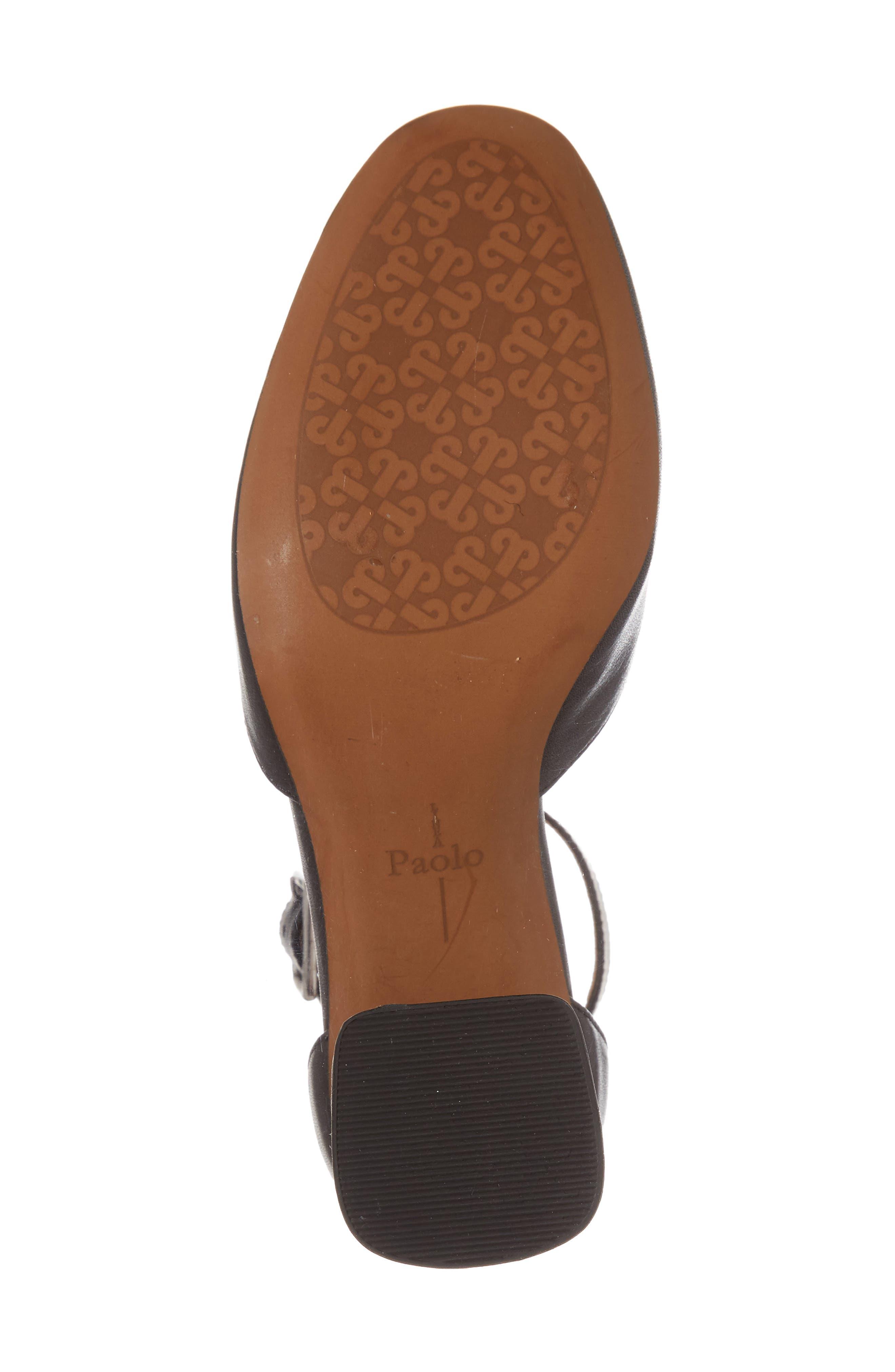 Maya Ankle Strap Pump,                             Alternate thumbnail 6, color,                             Black Leather