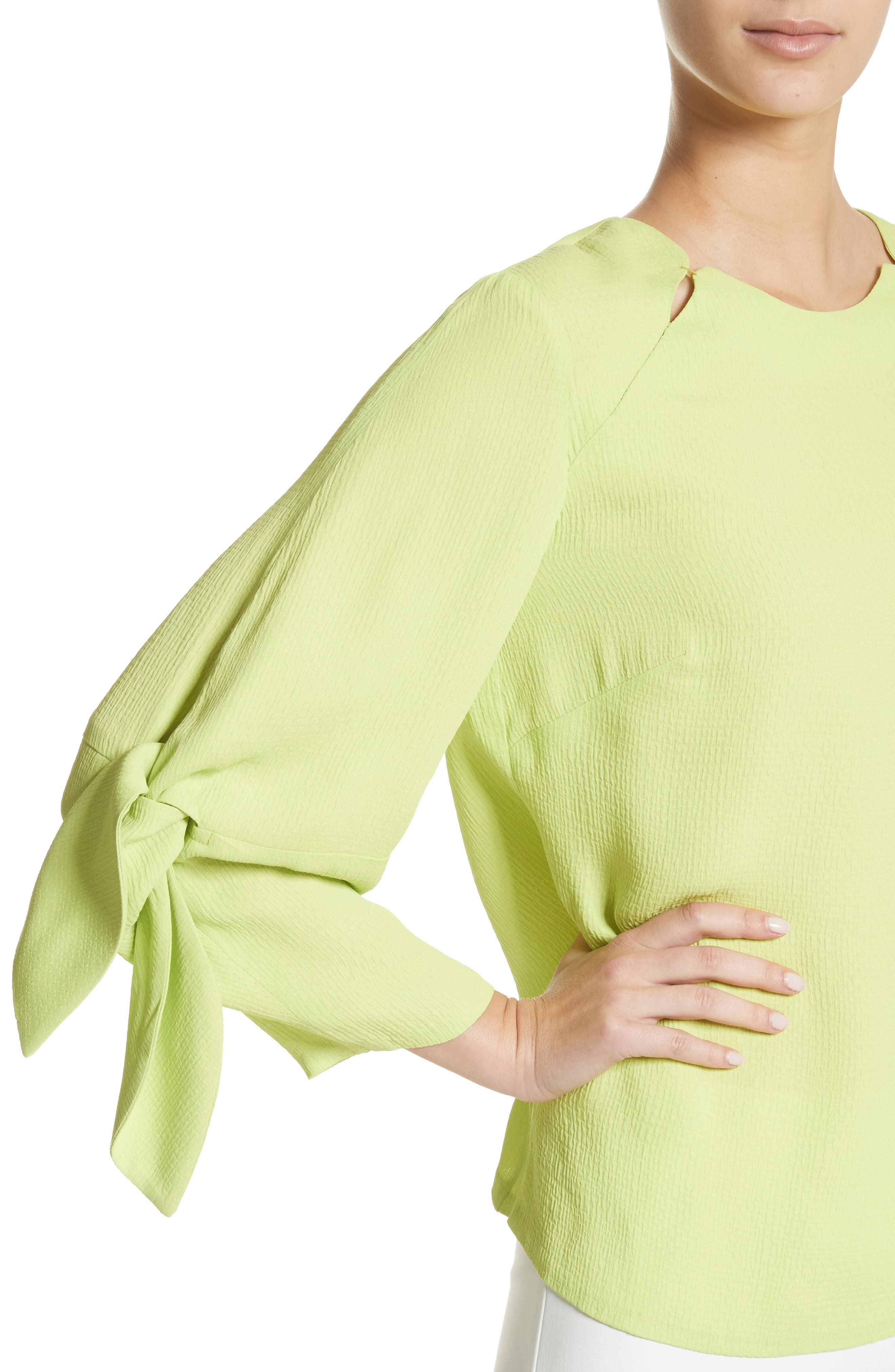 Tie Sleeve Top,                             Alternate thumbnail 4, color,                             Lime