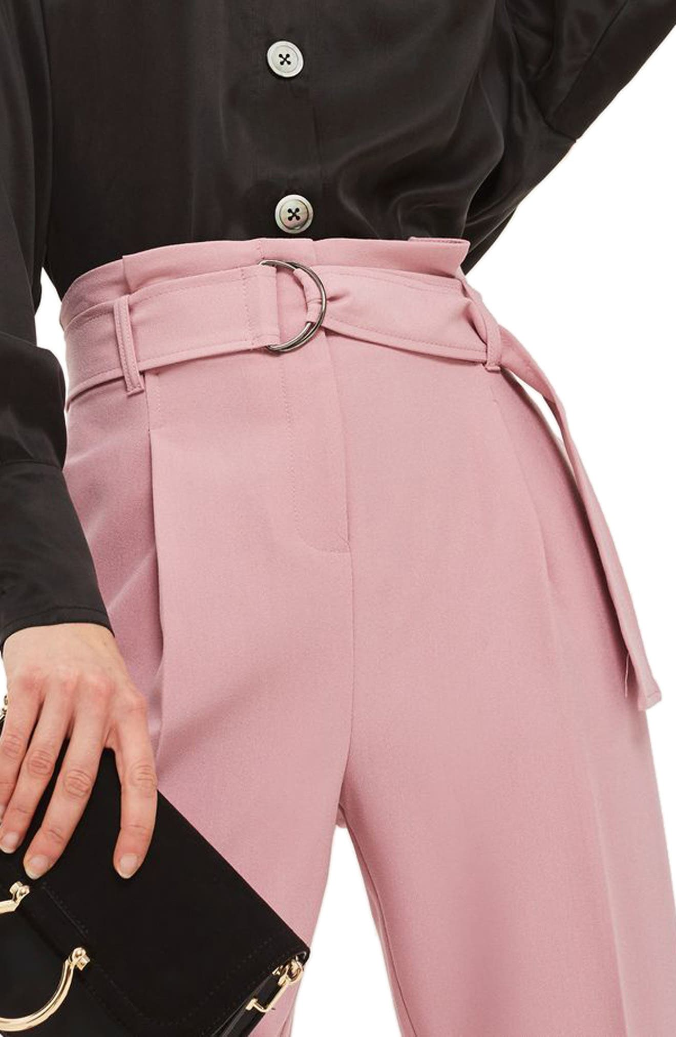 Paperbag Waist Trousers,                             Alternate thumbnail 3, color,                             Pink