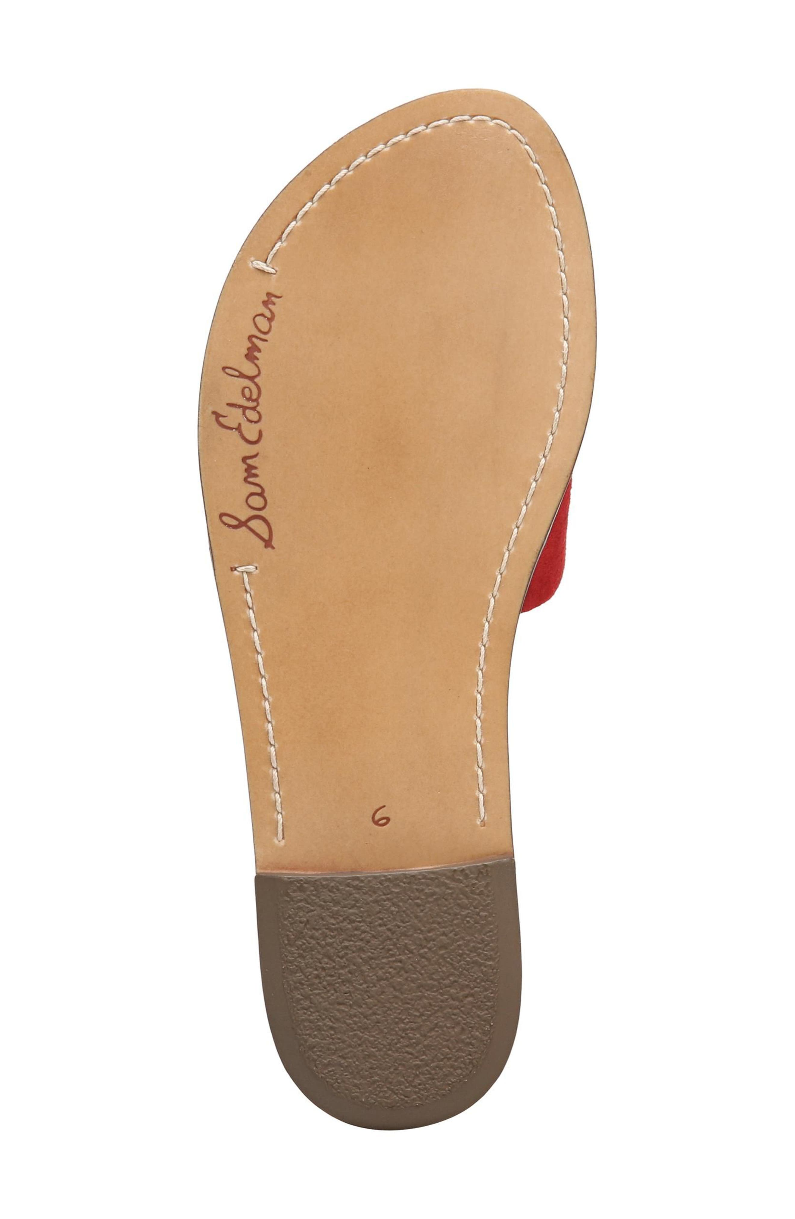 Gio Slide Sandal,                             Alternate thumbnail 6, color,                             Red Suede