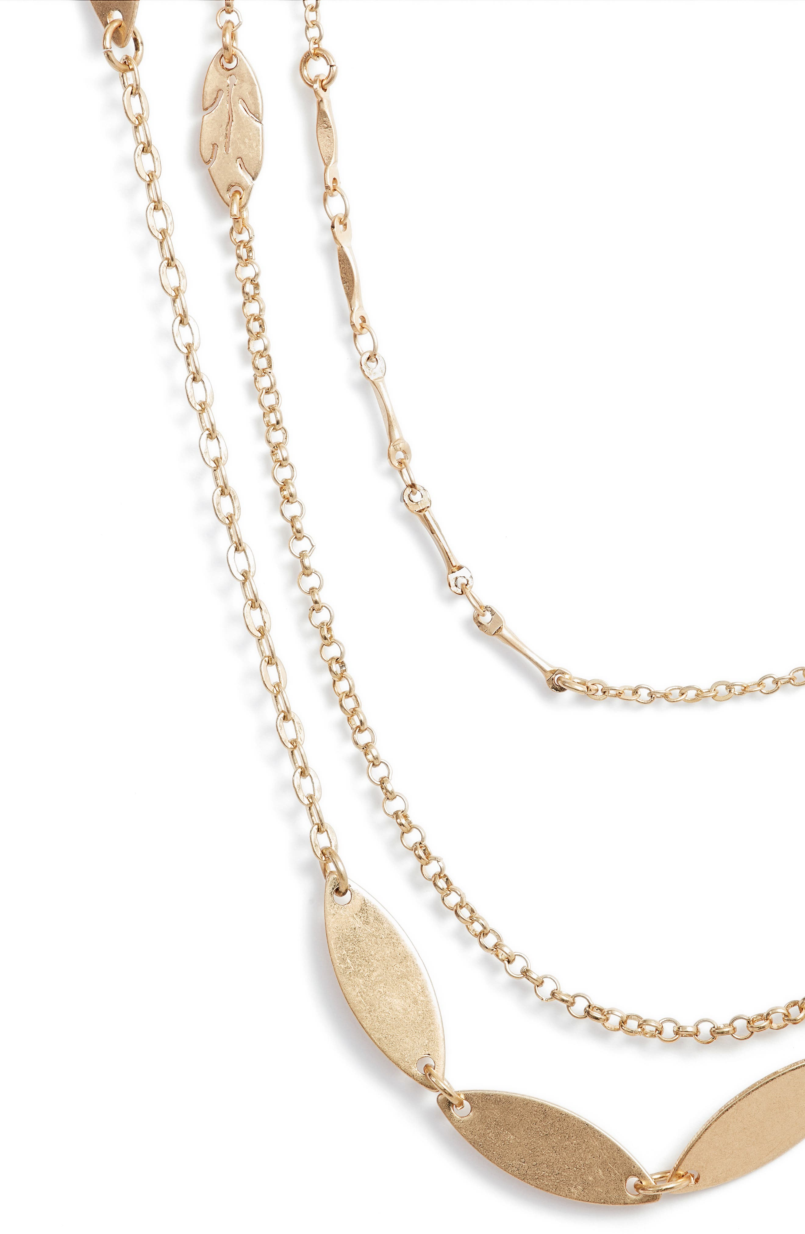 Alternate Image 2  - Halogen® Layered Leaf Station Necklace