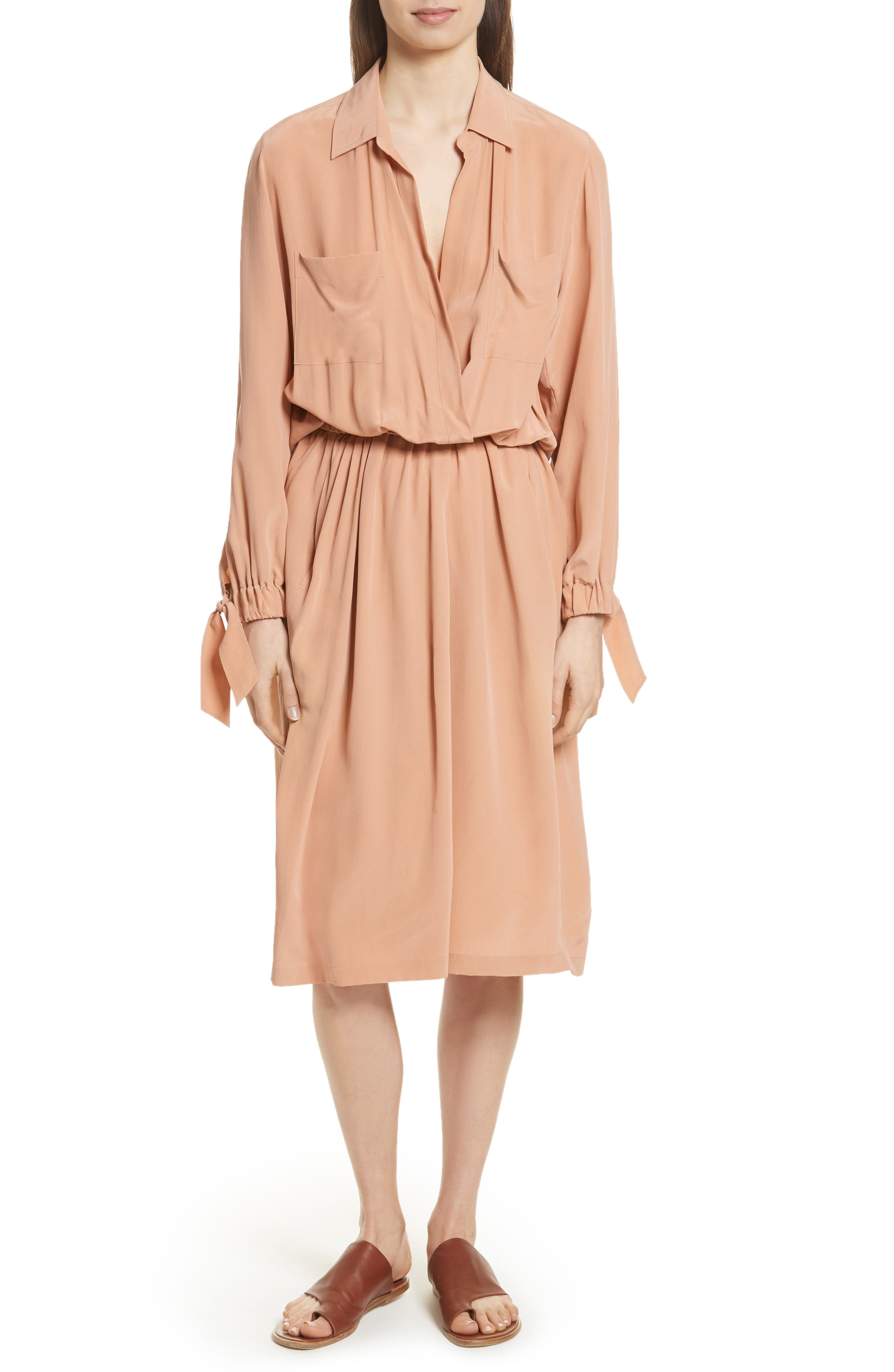 Silk Slit Back Shirtdress,                         Main,                         color, Blush